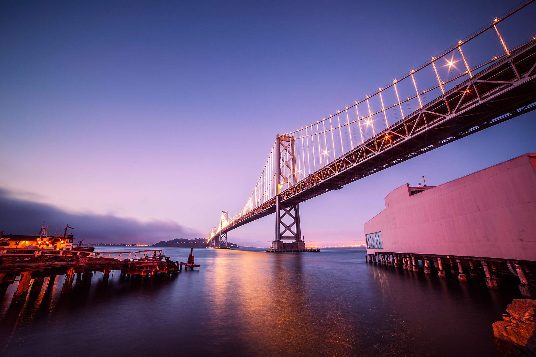 Bay Bridge with Treasure Island in San Francisco At Night Free Stock Photo