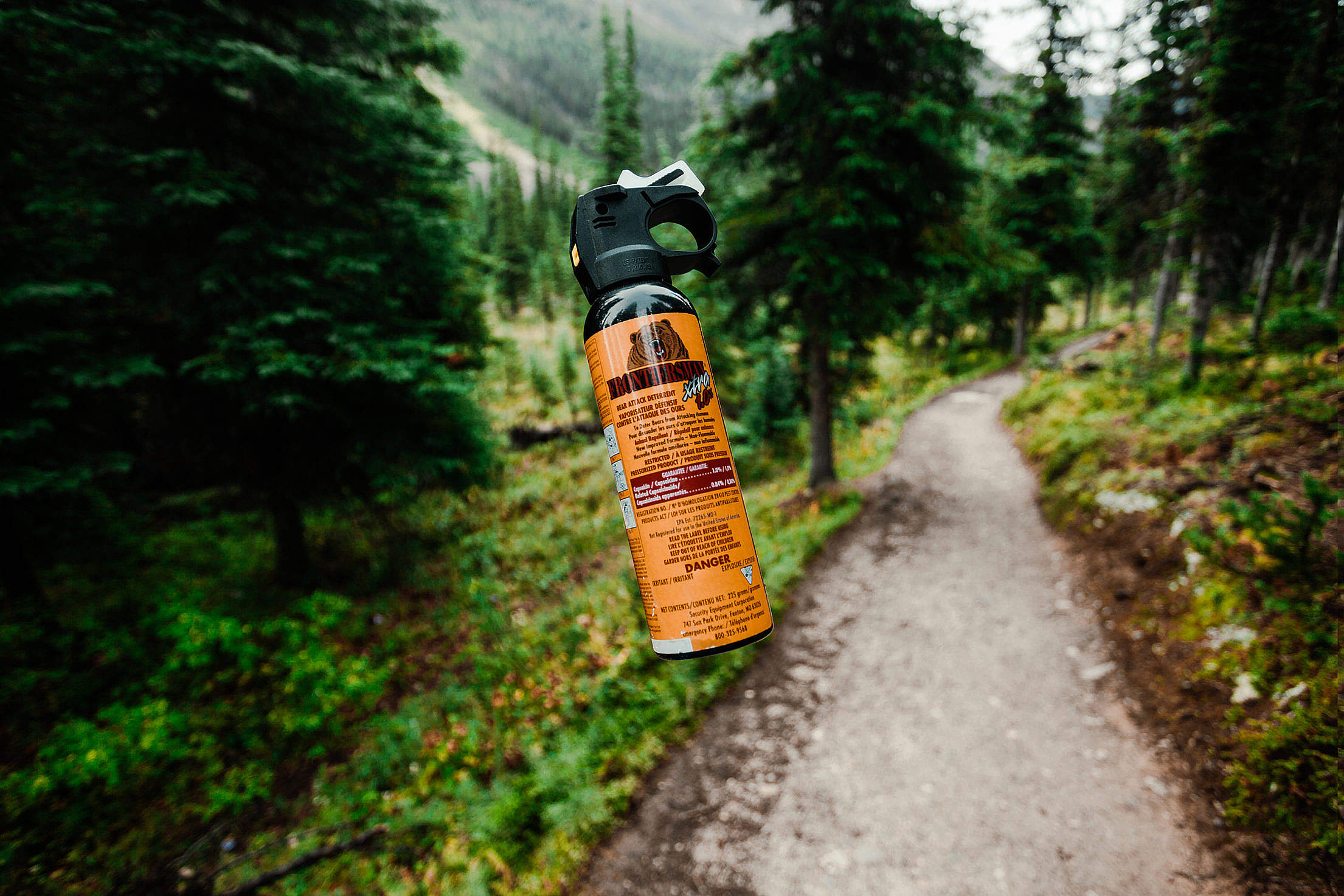 Bear Spray on a Hiking Trail Free Stock Photo