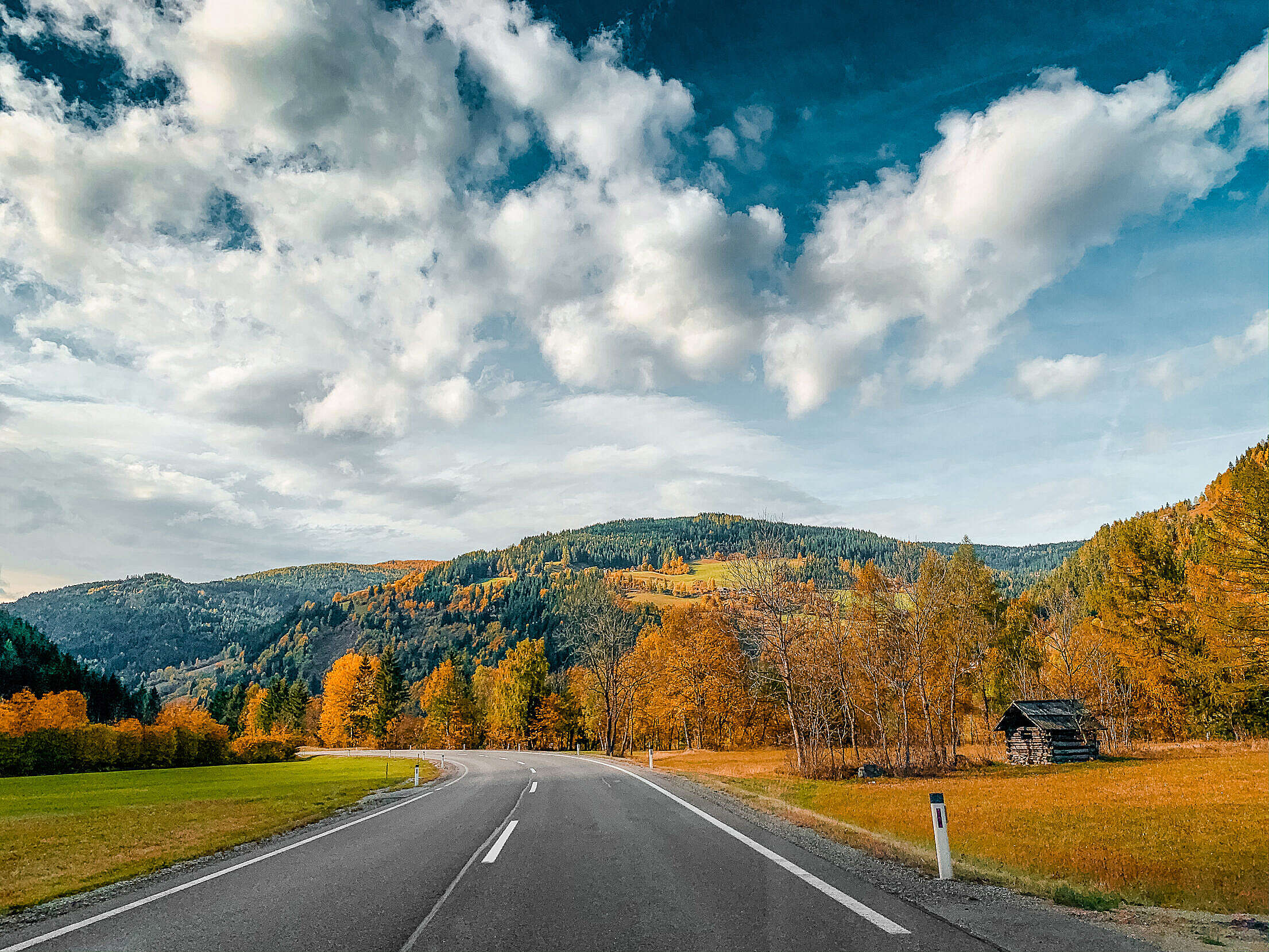 Beautiful Autumn Road in Austria Free Stock Photo