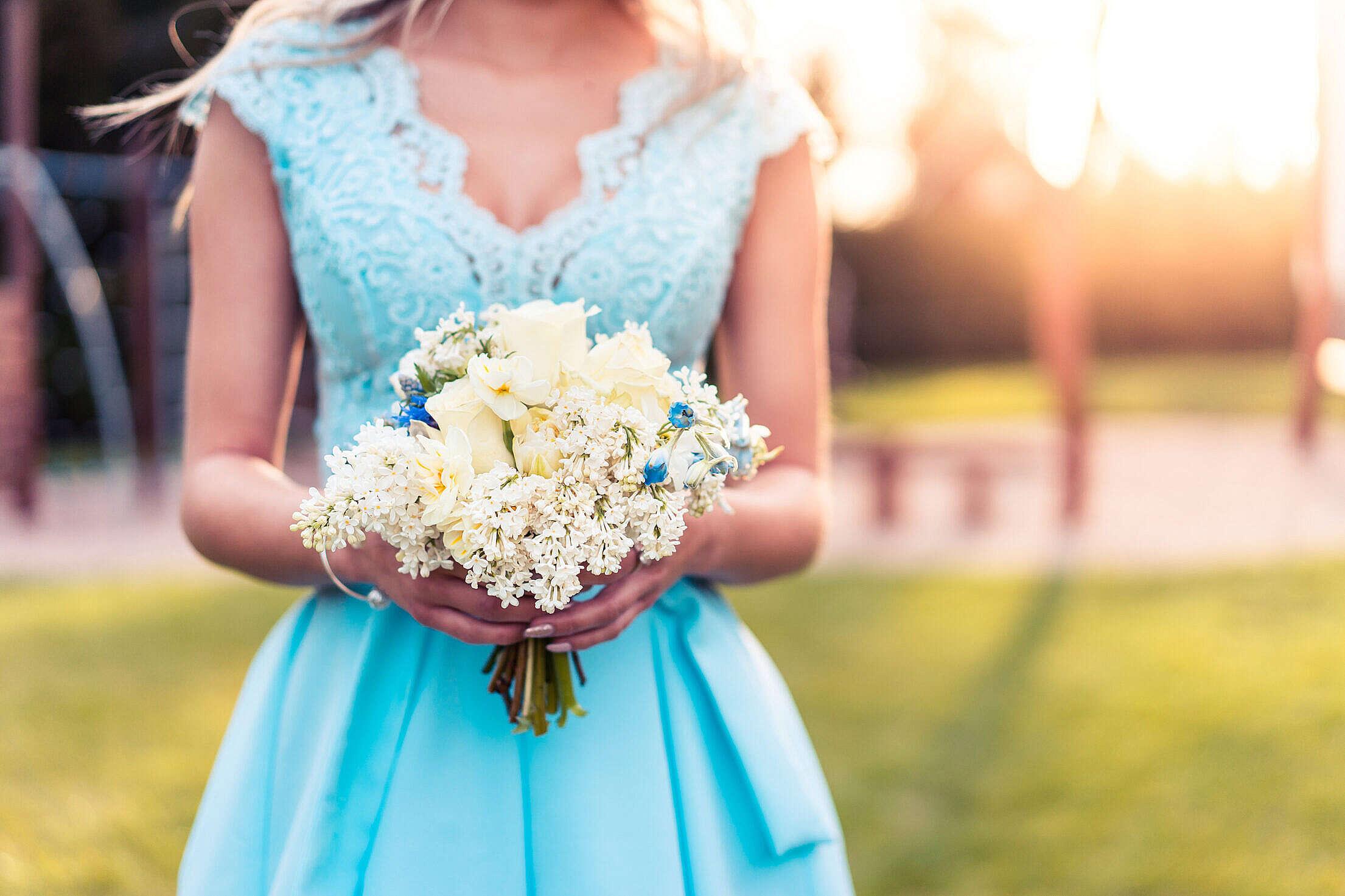 Beautiful Bridesmaid in Blue Dress Free Stock Photo