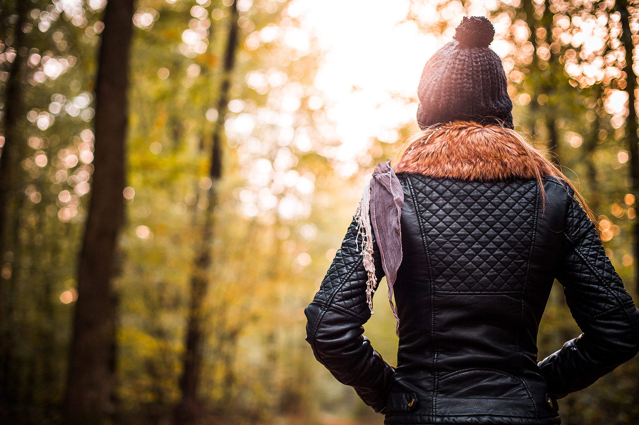 Download Beautiful Girl in Forest Turning Her Back Free Stock Photo