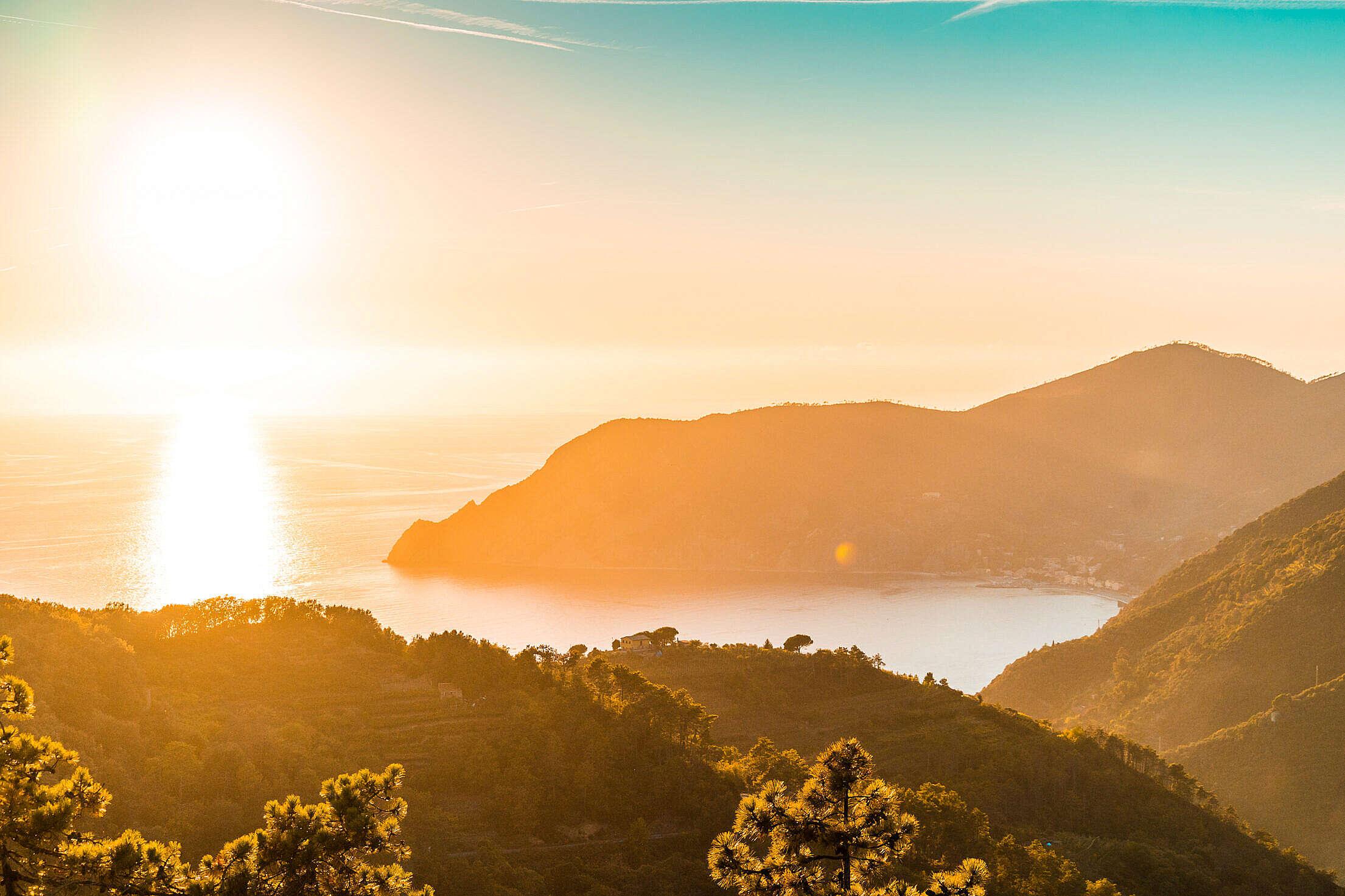 Beautiful Italian Coast Sunset over The Sea Free Stock Photo