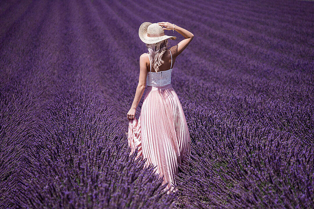 Download Beautiful Lady in Lavender Field FREE Stock Photo