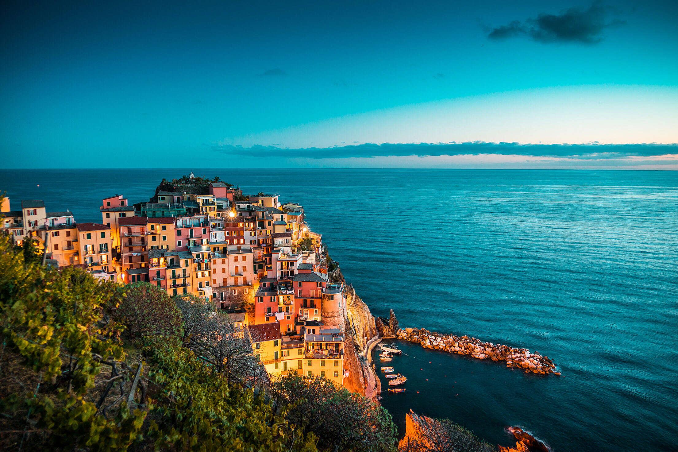 Beautiful Manarola at Night, Cinque Terre, Italy Free Stock Photo