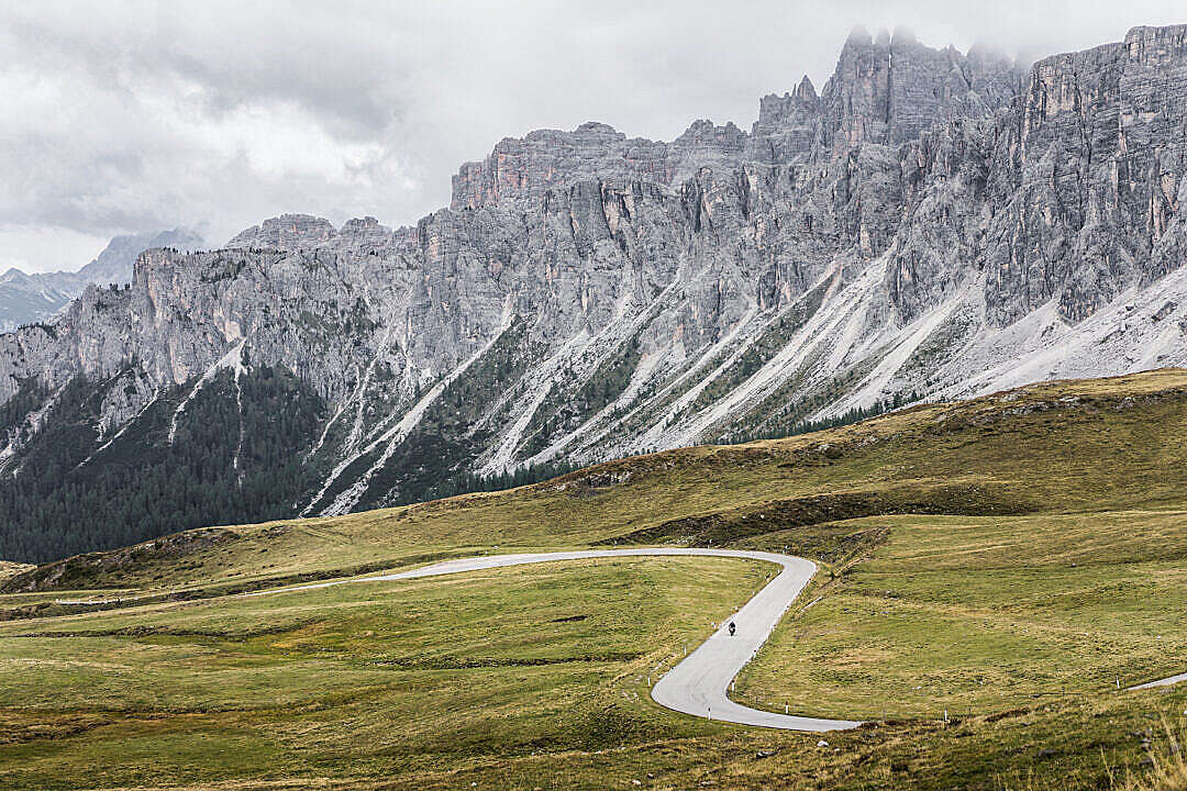 Download Beautiful Mountains & Roads Around Giau Pass in Italy FREE Stock Photo