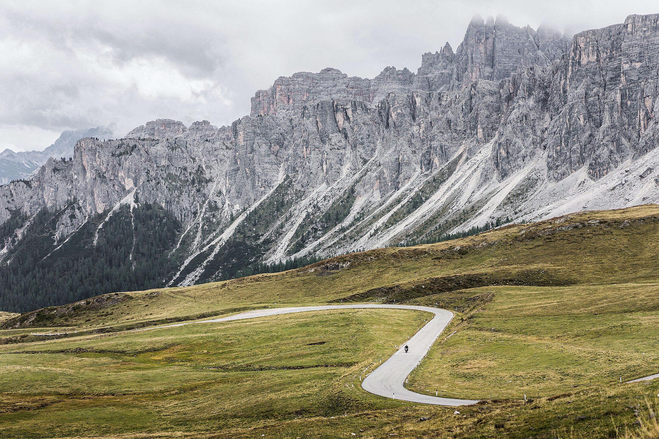 Beautiful Mountains & Roads Around Giau Pass in Italy Free Stock Photo