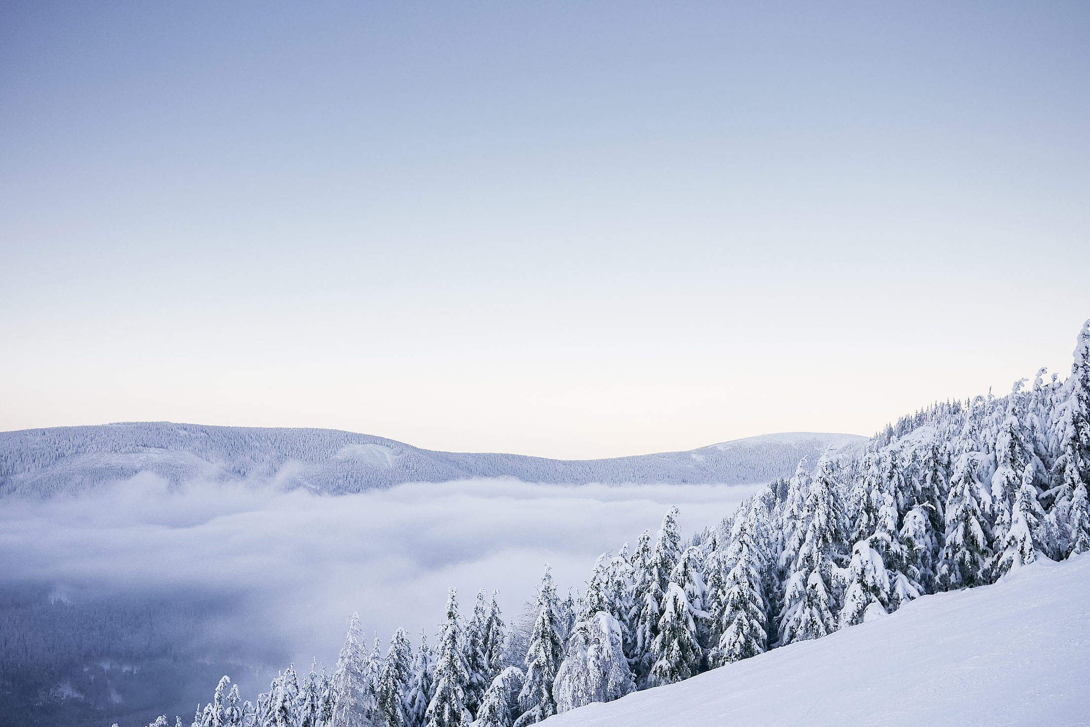 Beautiful Mountains with Snow Cloudless Panorama Free Stock Photo