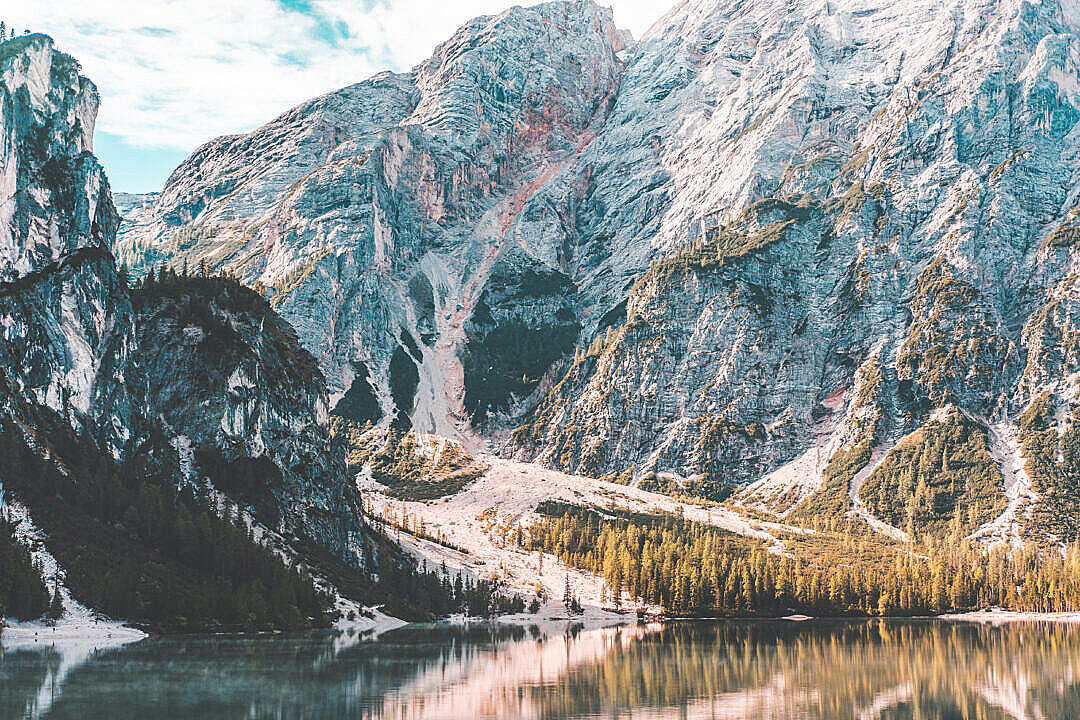 Download Beautiful Scenery Over the Lake Braies, Dolomites FREE Stock Photo