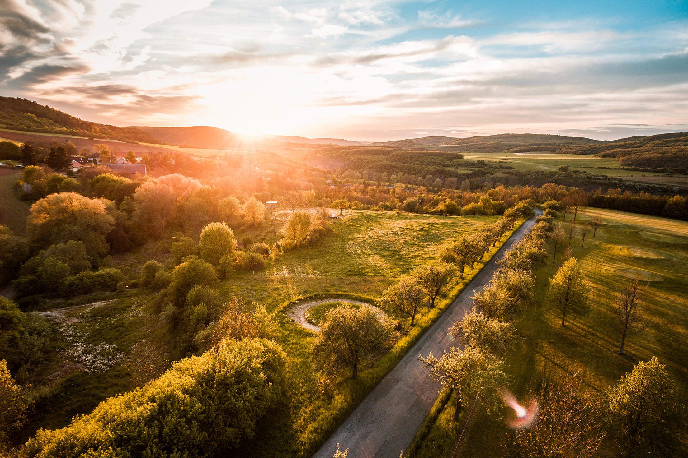Beautiful Sunset Over Hills Free Stock Photo