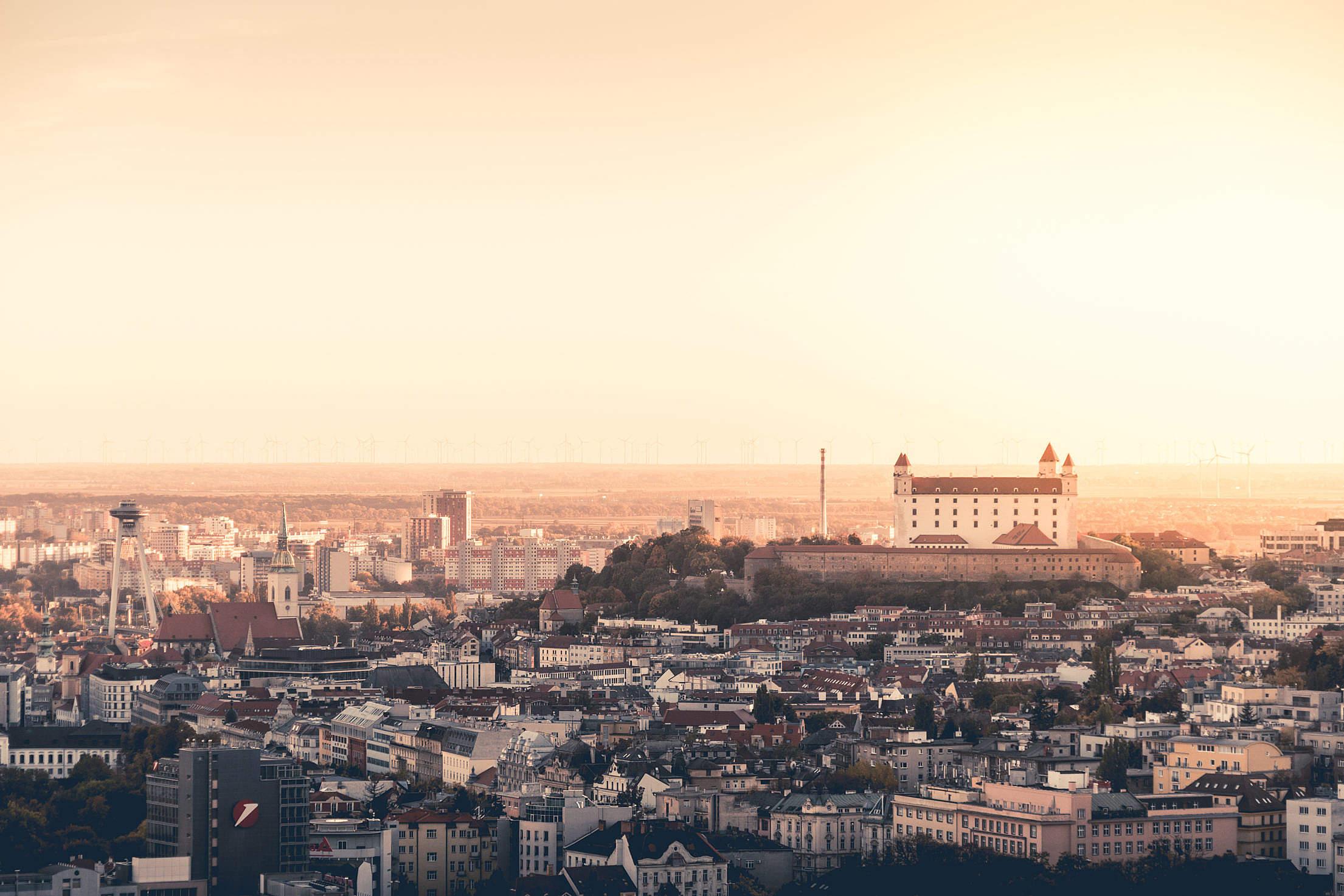 Beautiful Sunset Over The Bratislava Castle, Slovakia Free Stock Photo