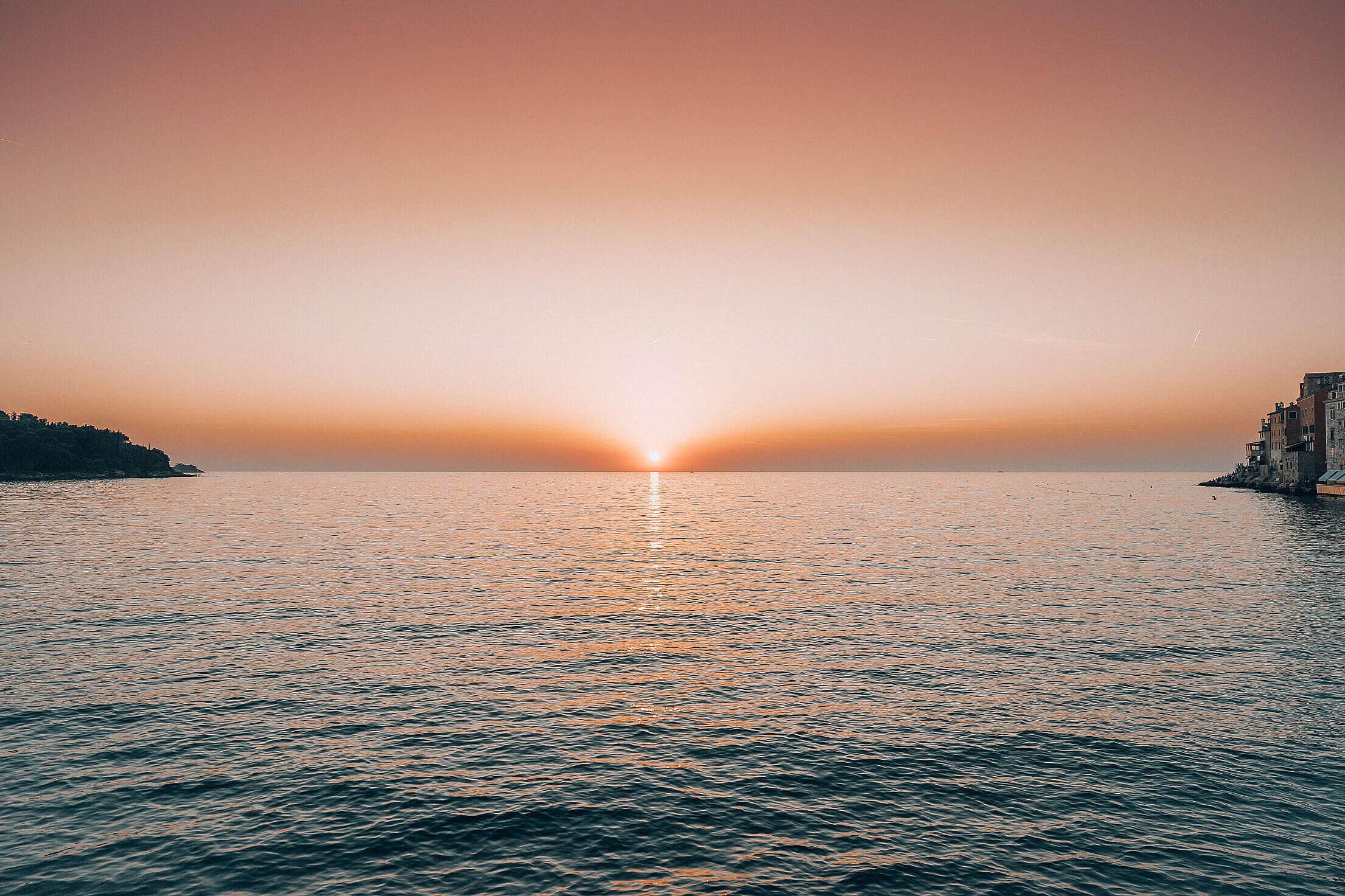 Beautiful Sunset over the Sea in Croatia Free Stock Photo