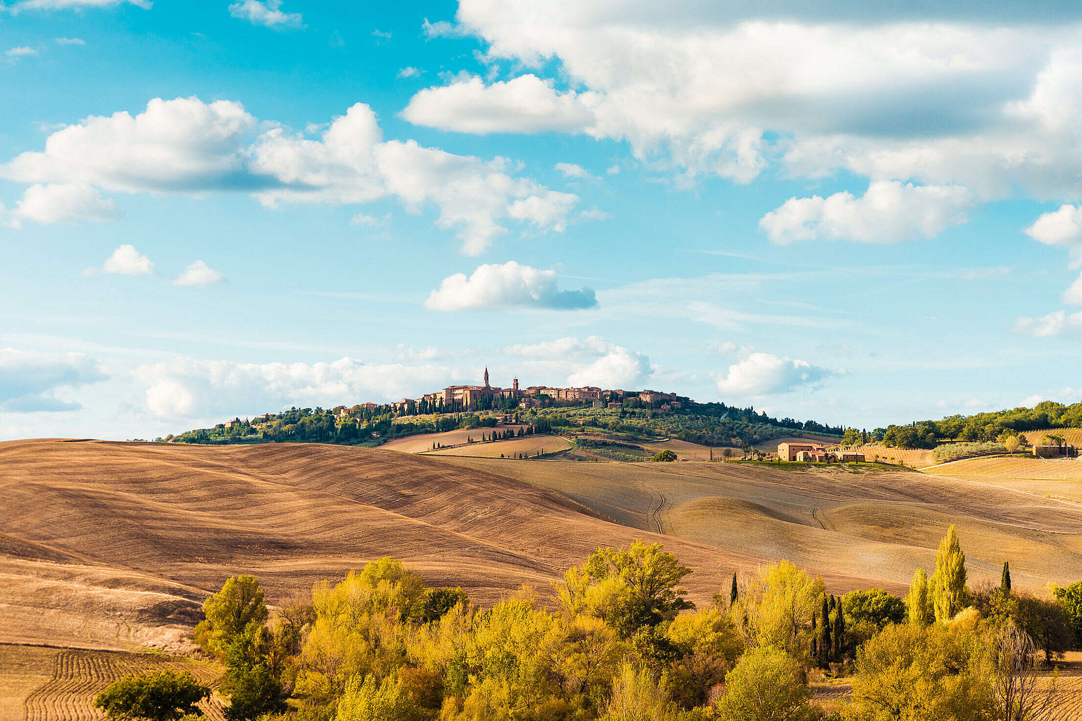 Beautiful Tuscan Landscape Around Pienza Town, Italy Free Stock Photo