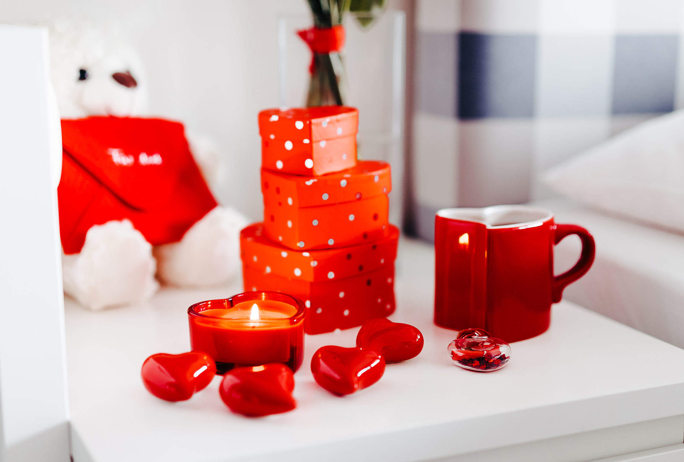 Beautiful Valentine's Day Morning Gifts Free Stock Photo