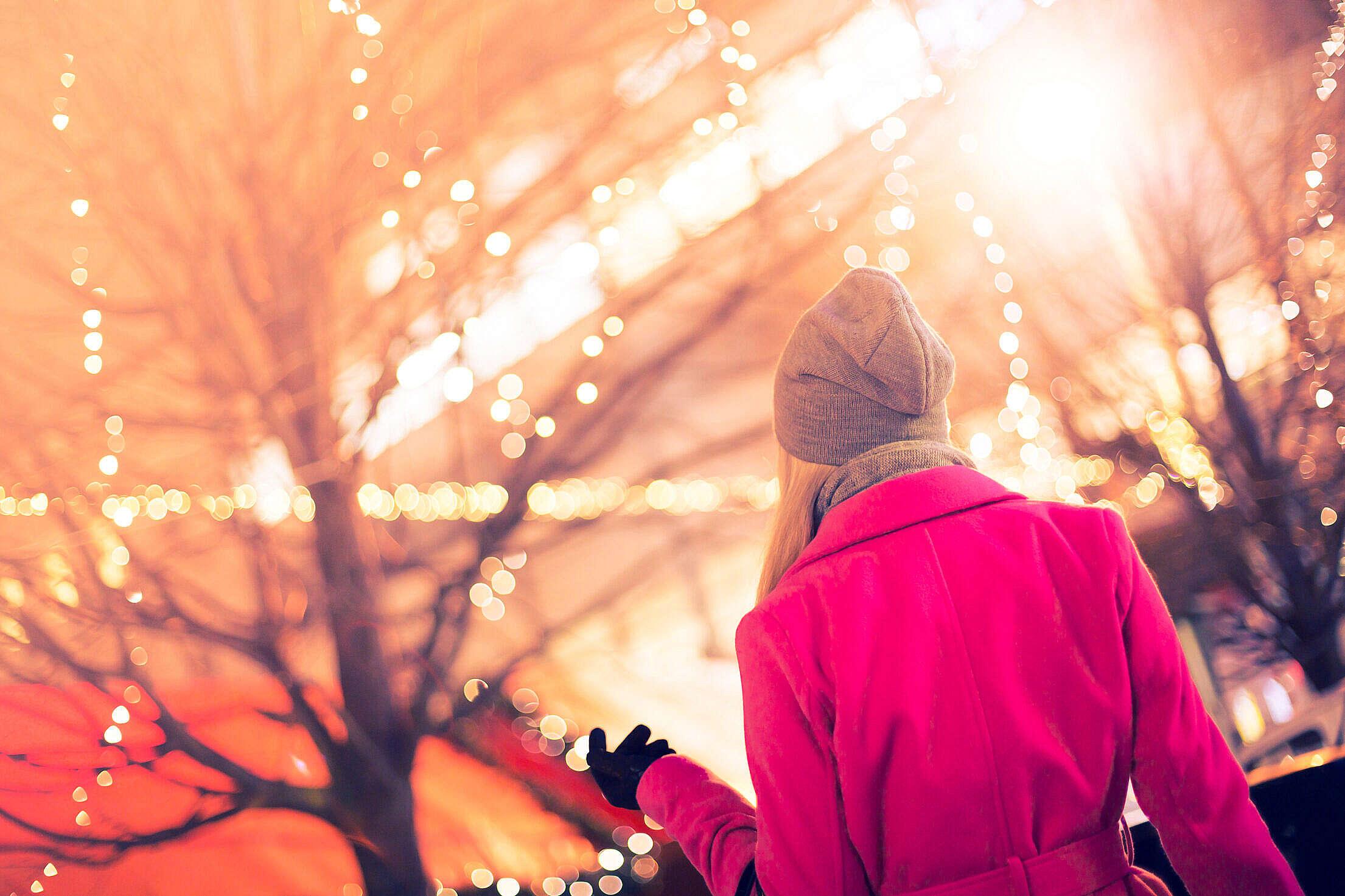 Beautiful Woman at Christmas Market Free Stock Photo
