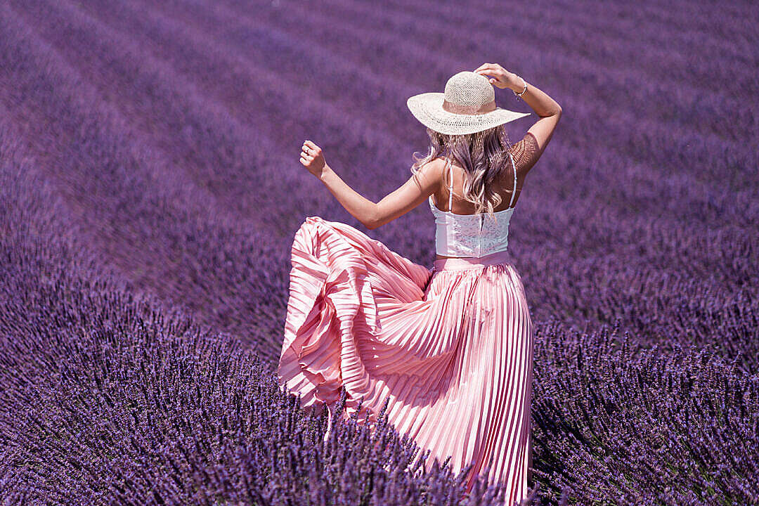 Download Beautiful Woman Dress and Lavender Field FREE Stock Photo