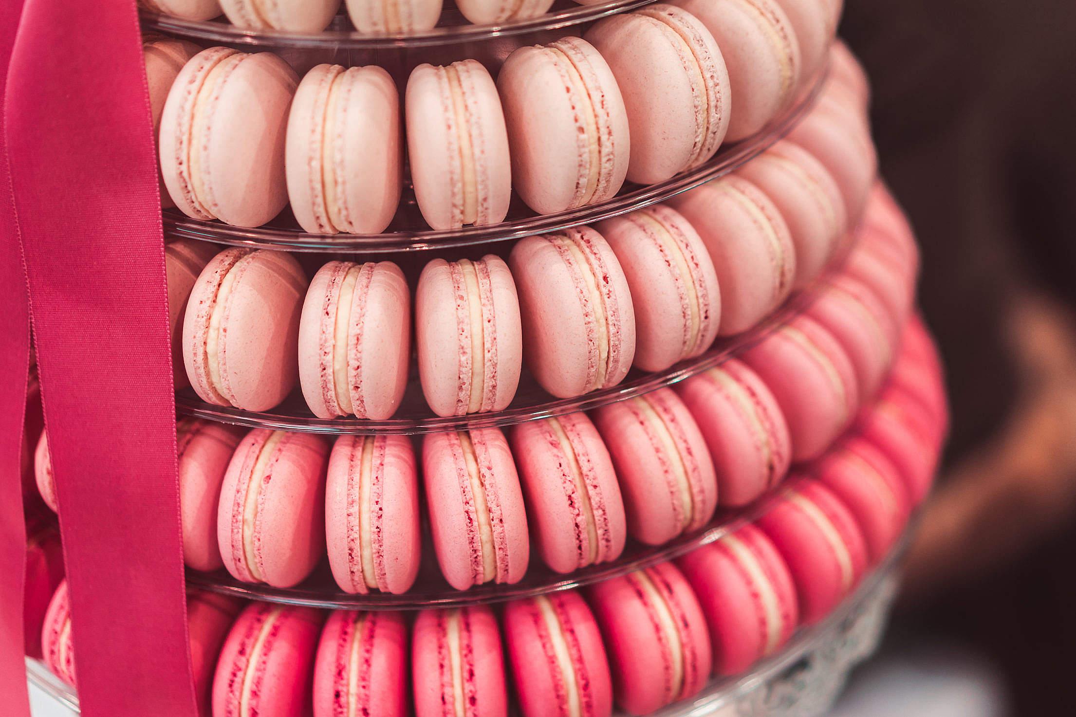Beautiful Yummy Macaron Cake Pyramid Free Stock Photo