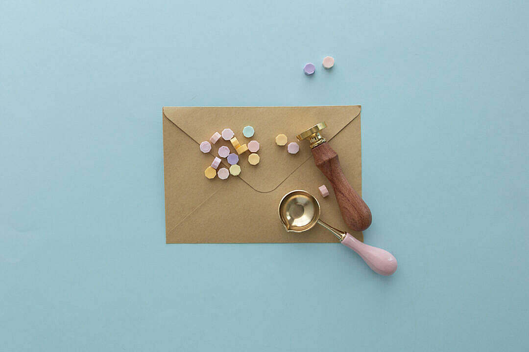 Download Beauty of Sending a Letter with a Wax Seal Stamp FREE Stock Photo