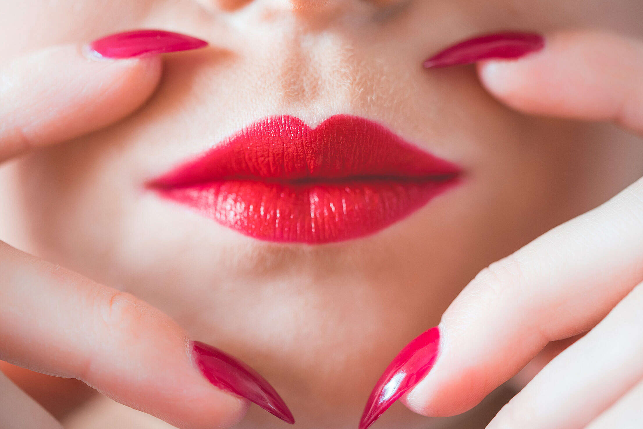 Beauty Perfect Red Lips and Nail Design Free Stock Photo