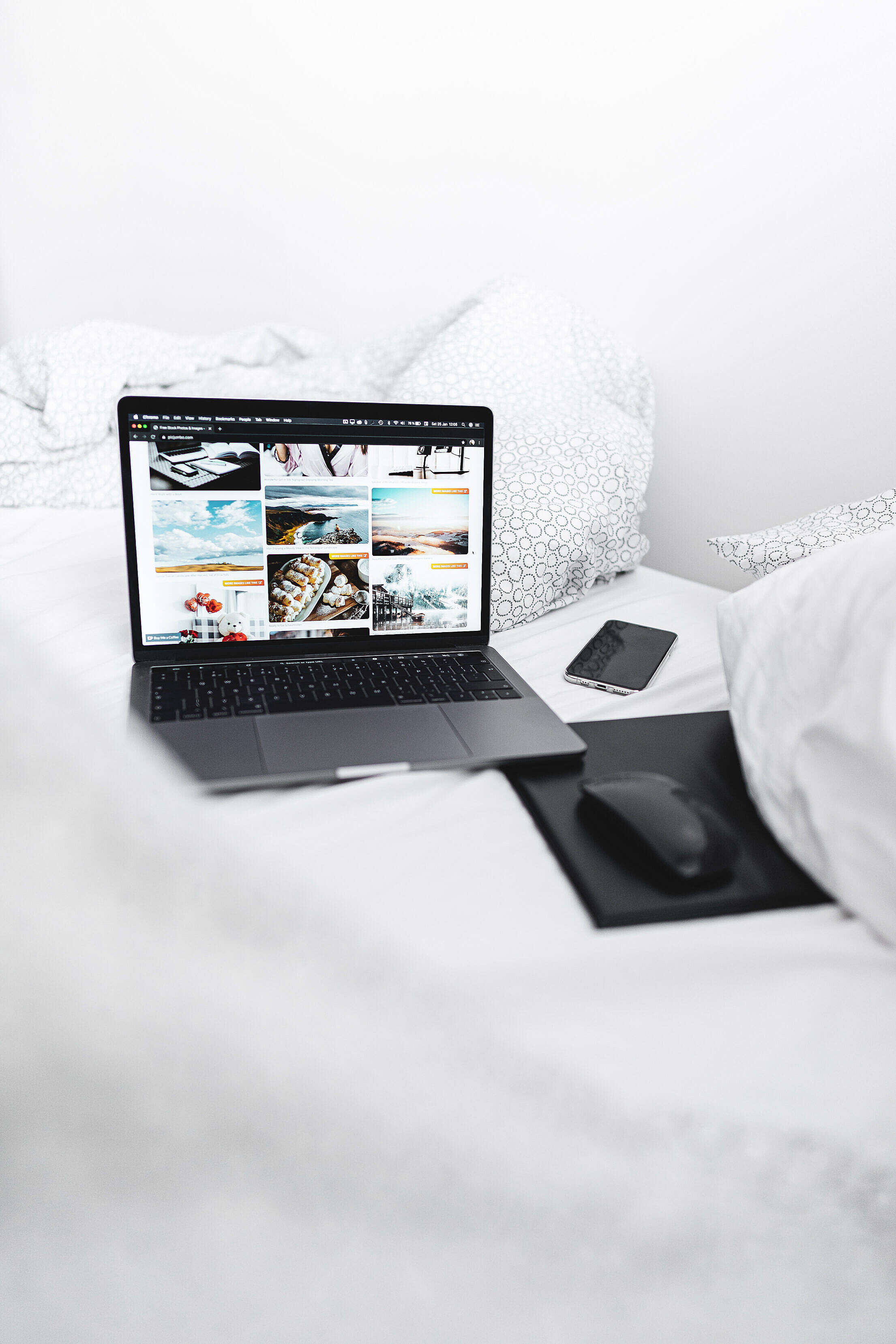 Bed Office Setup Free Stock Photo