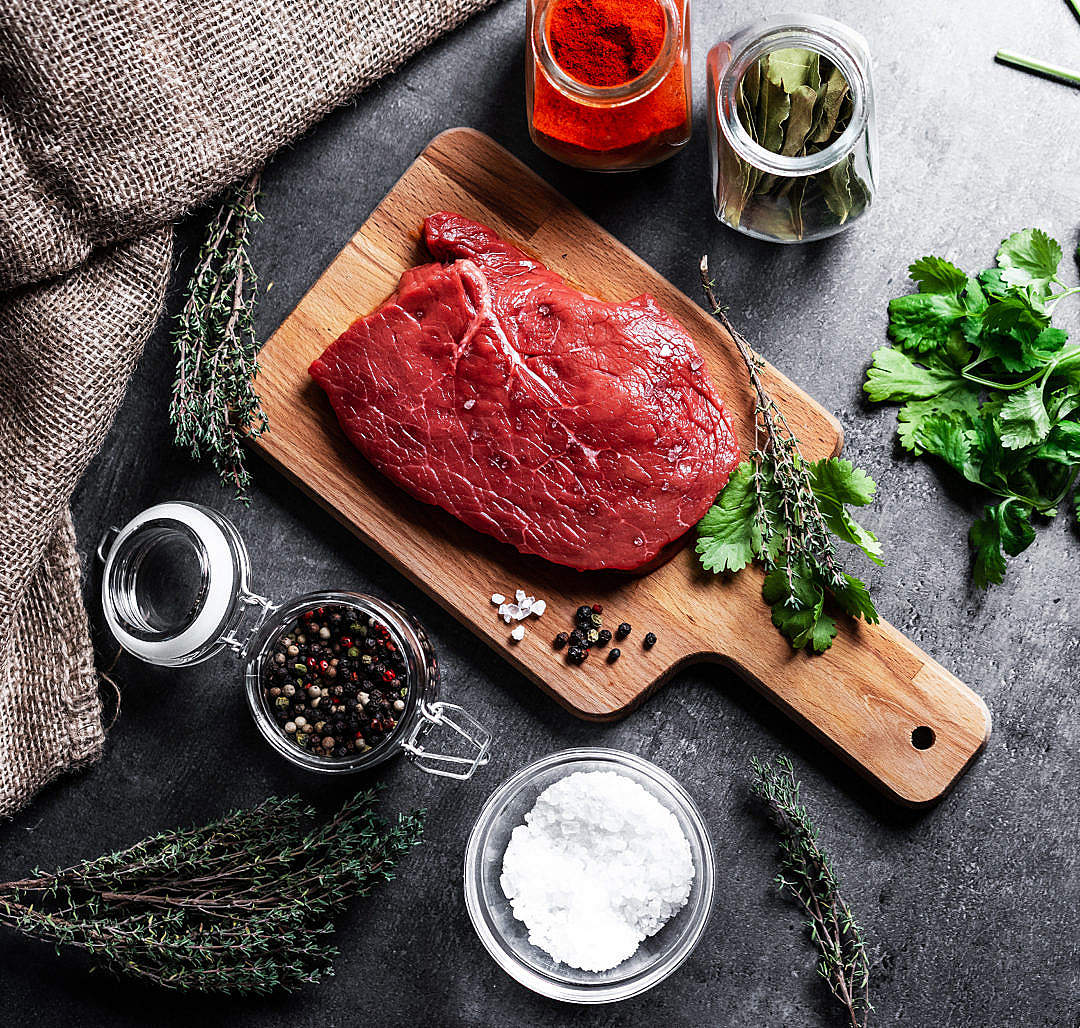 Download Beef Steak Flat Lay FREE Stock Photo