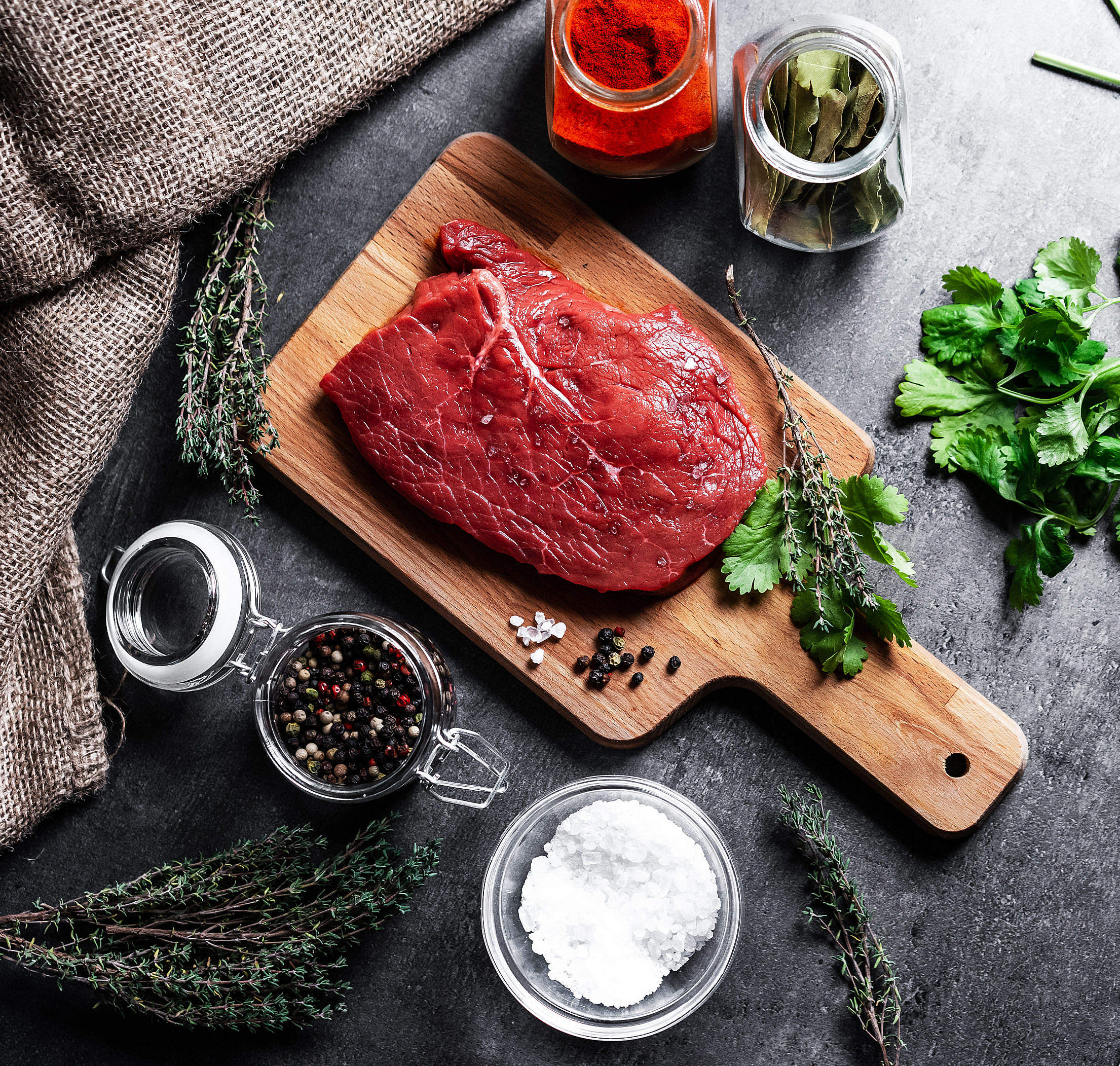 Beef Steak Flat Lay Free Stock Photo