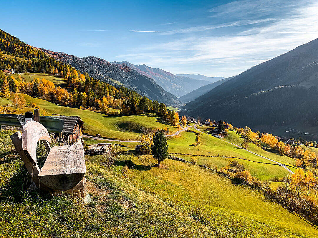 Download Bench with the View in Austrian Mountains FREE Stock Photo