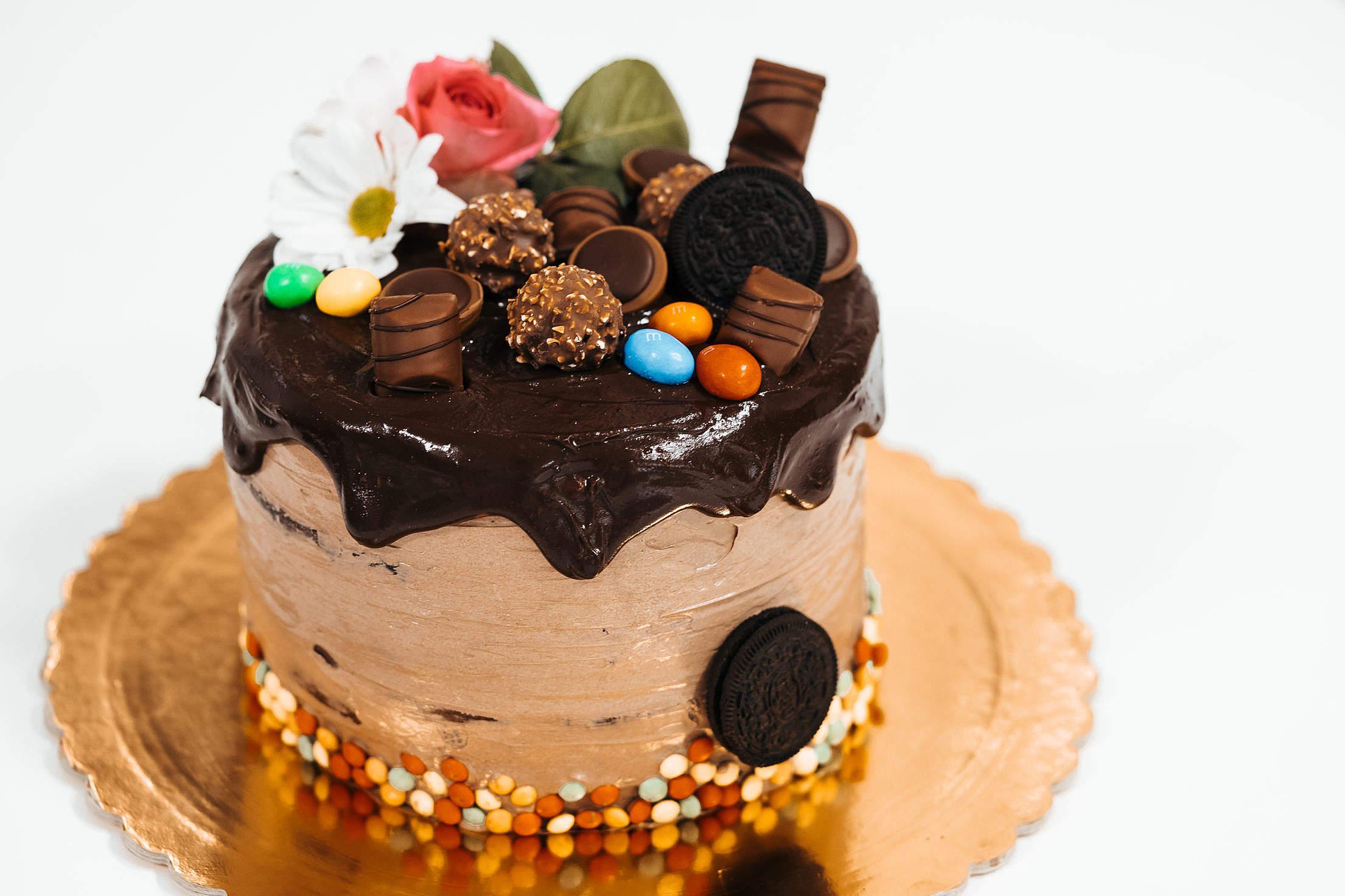 Birthday Cake with Chocolate Decorations Free Stock Photo