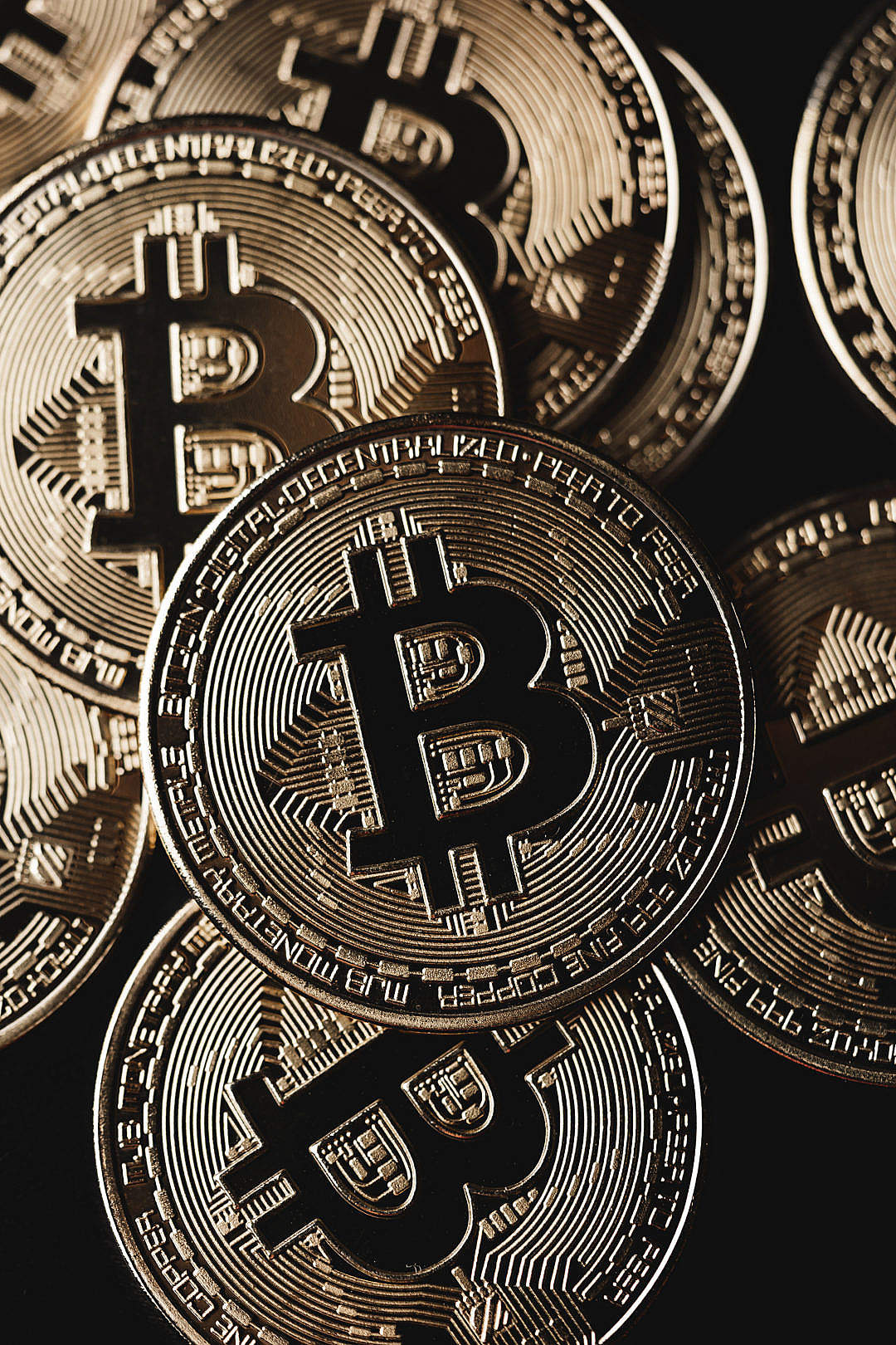 Download Bitcoin Cryptocurrency Pile Close Up FREE Stock Photo