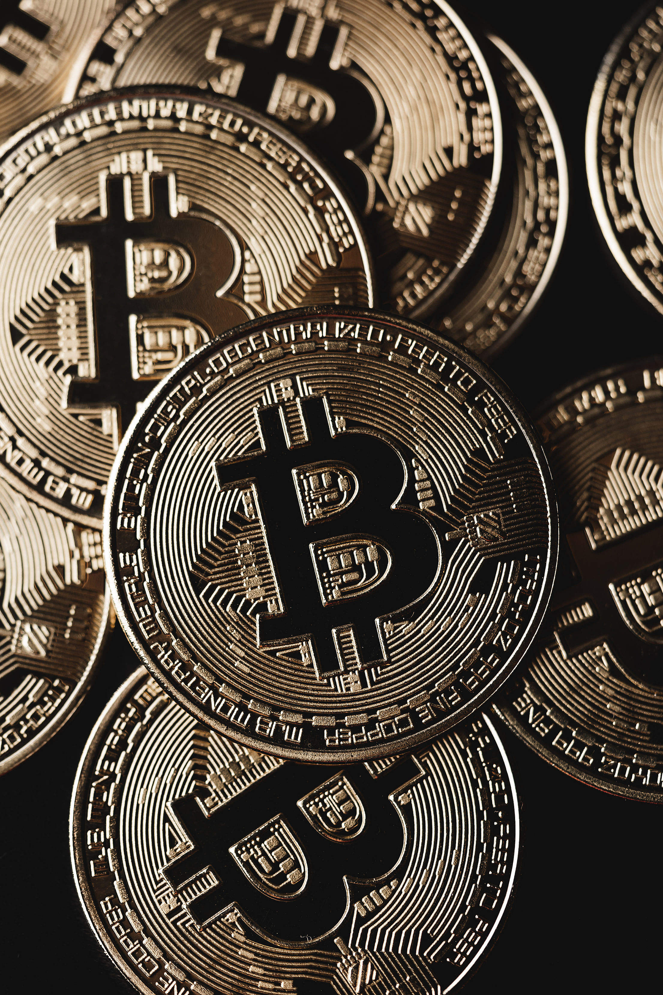 Bitcoin Cryptocurrency Pile Close Up Free Stock Photo