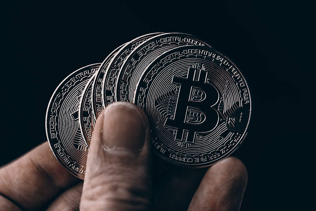 Download Black Bitcoin Coins FREE Stock Photo