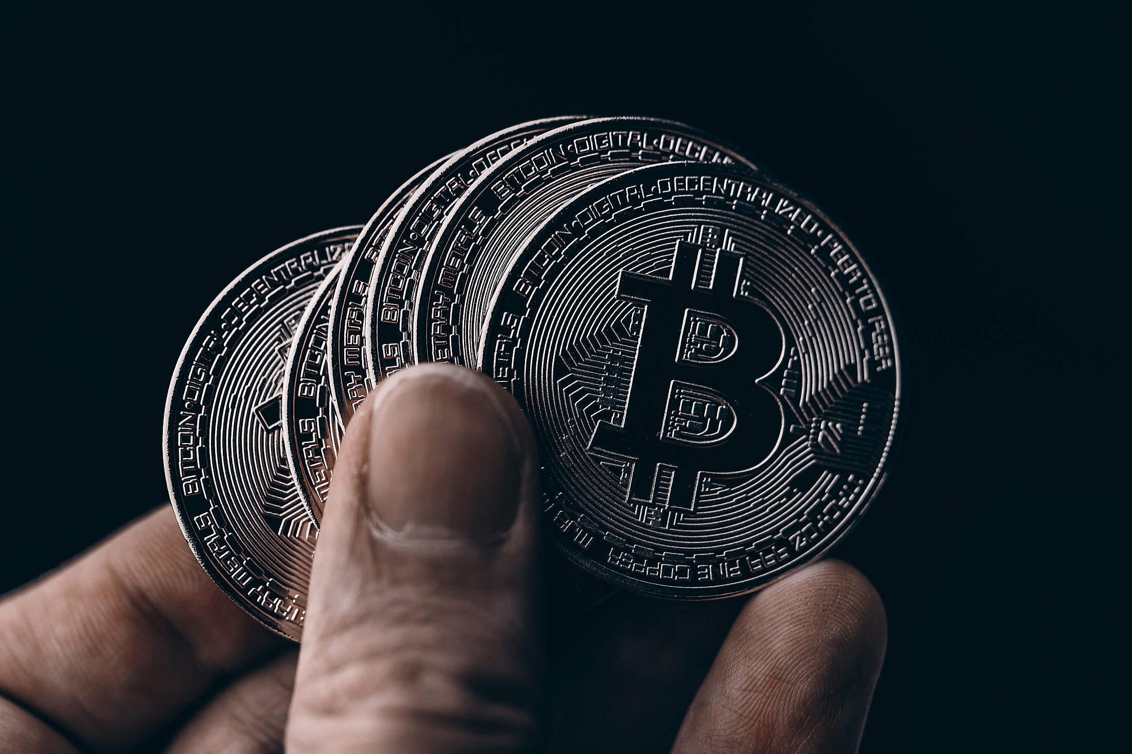 Black Bitcoin Coins Free Stock Photo