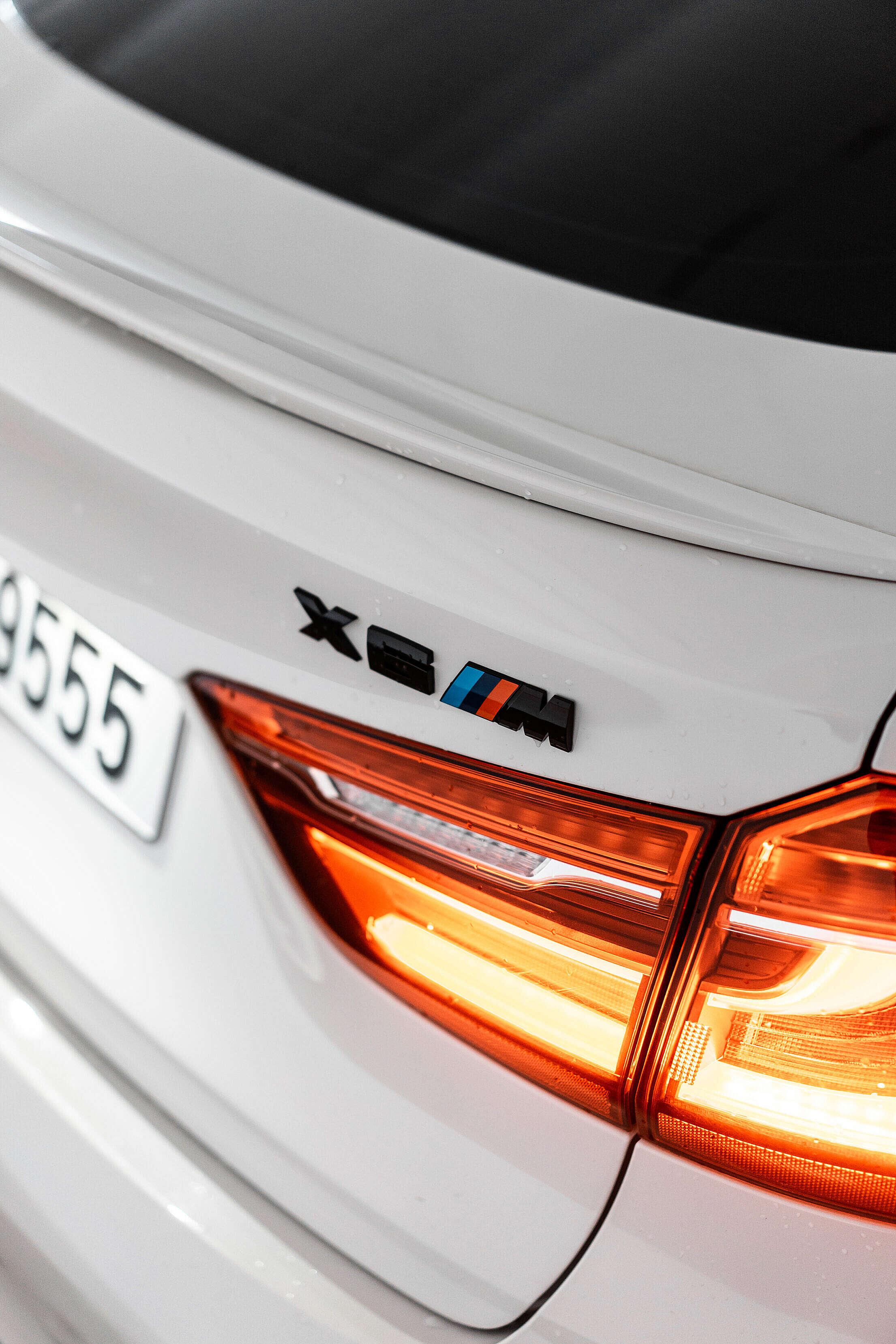 Black BMW X6M Rear Badge Logo Free Stock Photo