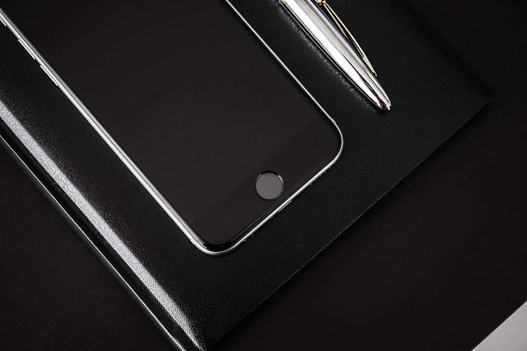 Download Black Desk, Black Diary, Black Smartphone FREE Stock Photo