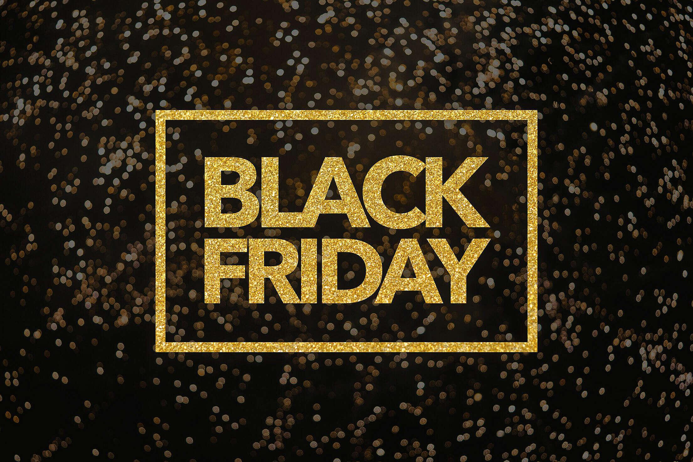 Black Friday Lettering Golden Glitter Free Stock Photo