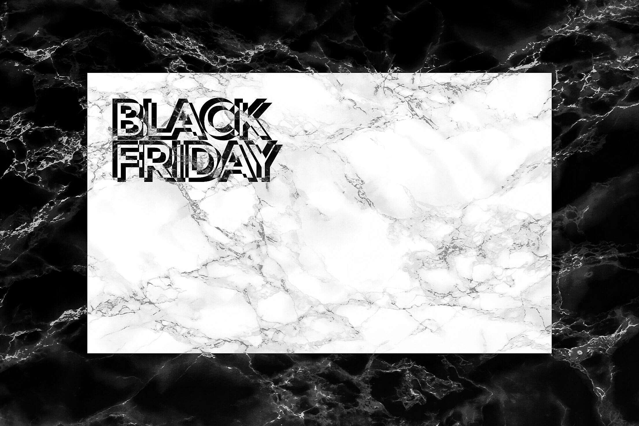 Black Friday Marble Card Mockup Free Stock Photo