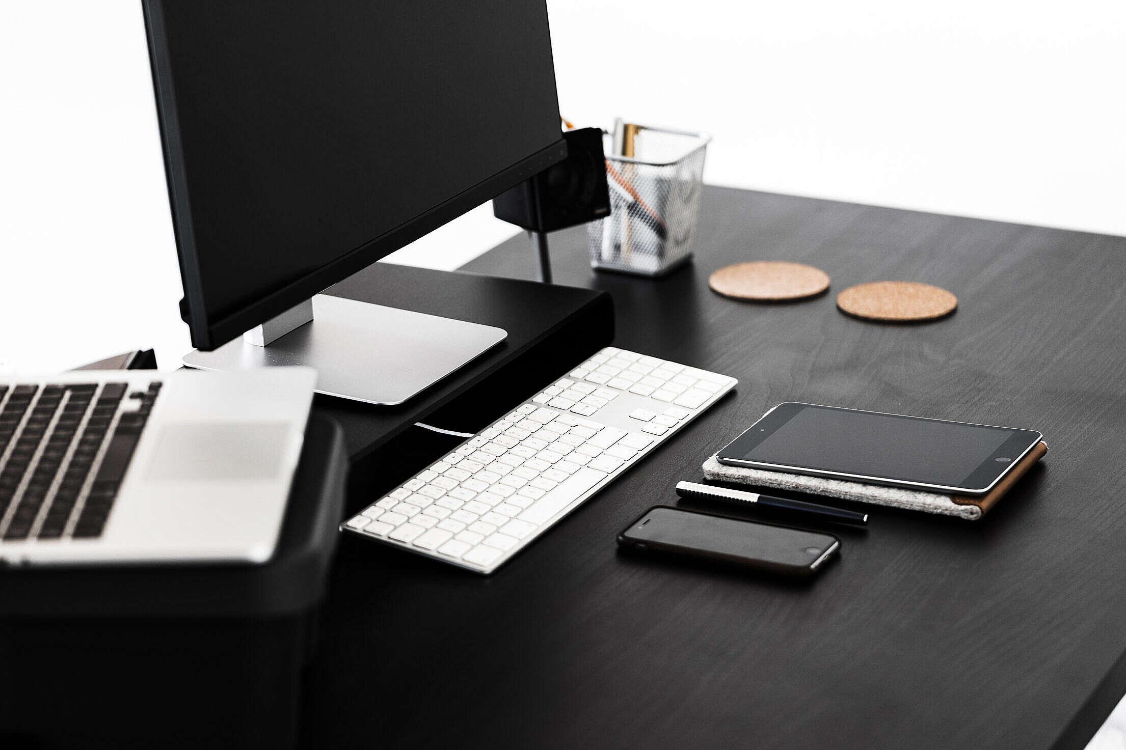 Black Modern Minimalistic Desk Free Stock Photo