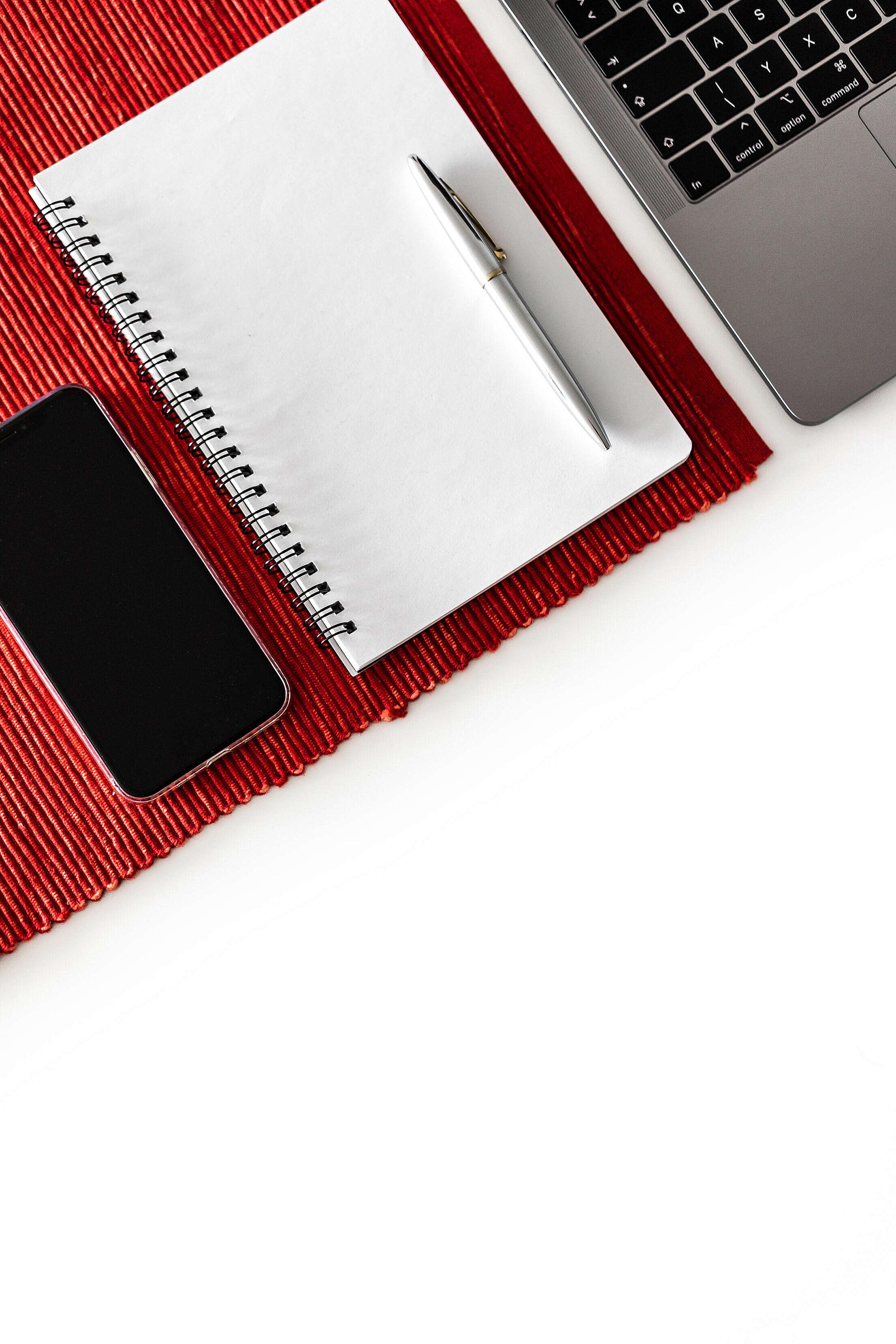 Blank Notebook Mockup on White Desk Free Stock Photo