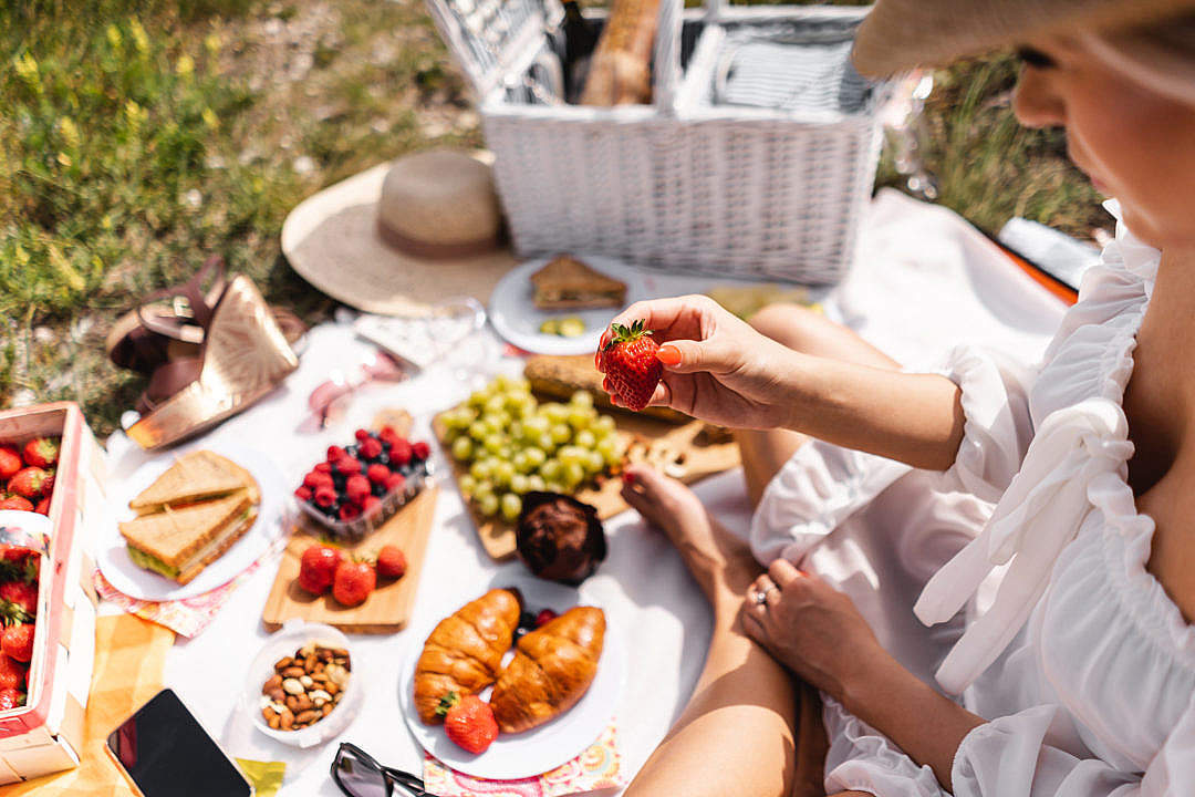 Download Blanket with Food Prepared for Summer Picnic Outdoors FREE Stock Photo
