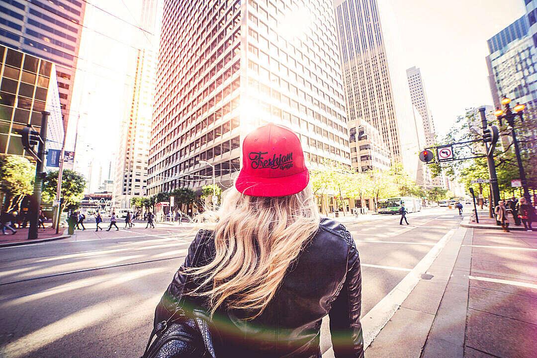Download Blonde Woman Walking Alone On San Francisco Streets FREE Stock Photo