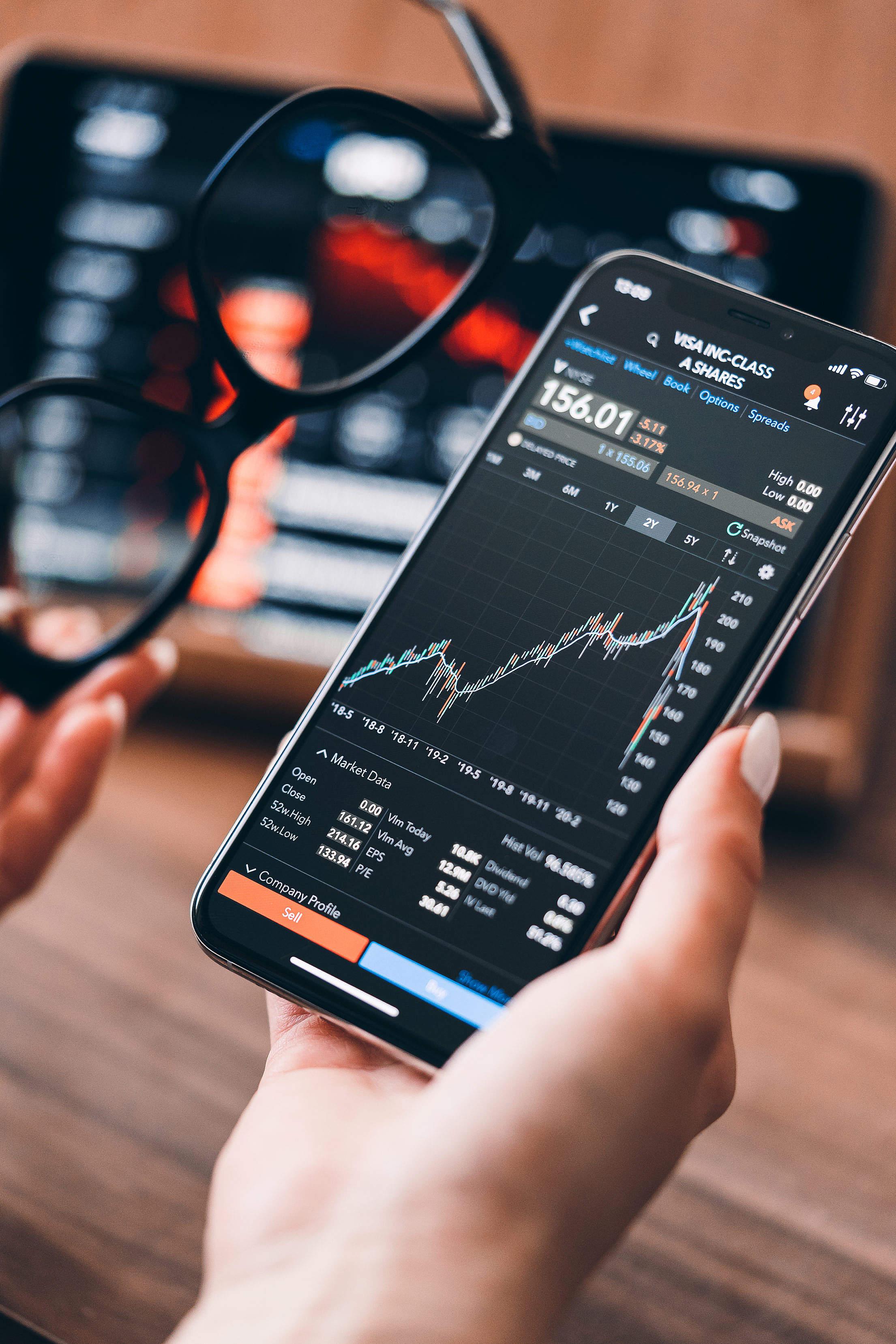 Blue Chip Stocks VISA Inc. Market Data Free Stock Photo