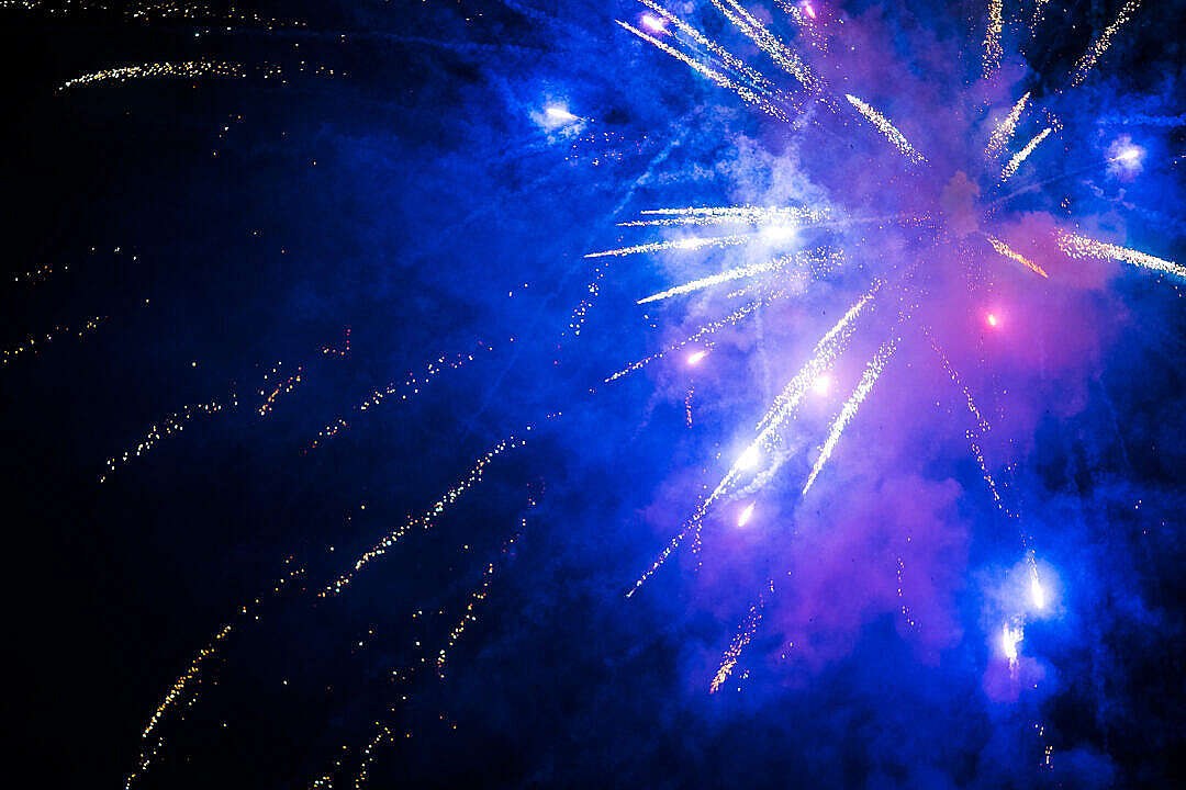 Download Blue Fireworks FREE Stock Photo