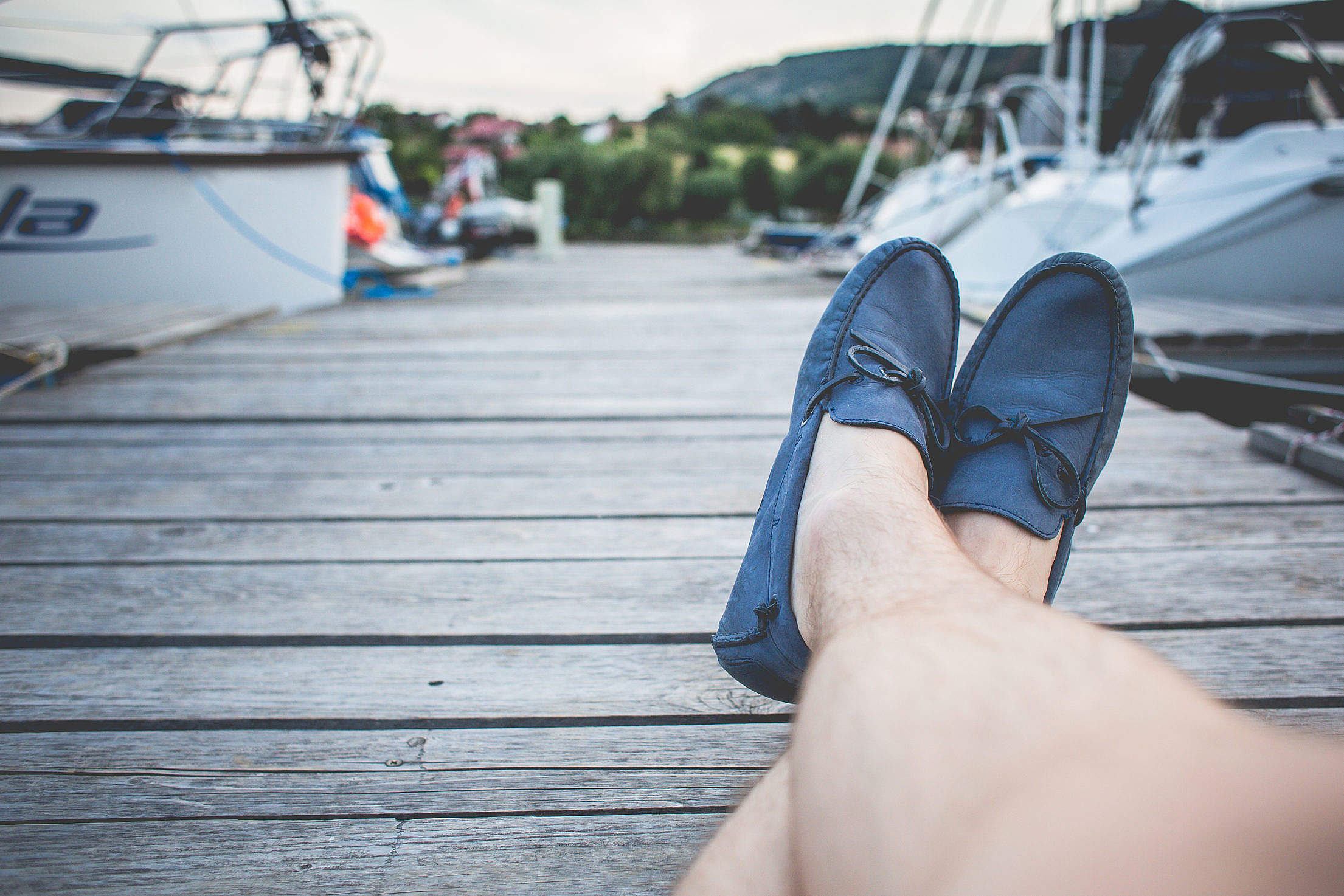 Blue Leather Boat Shoes Free Stock Photo