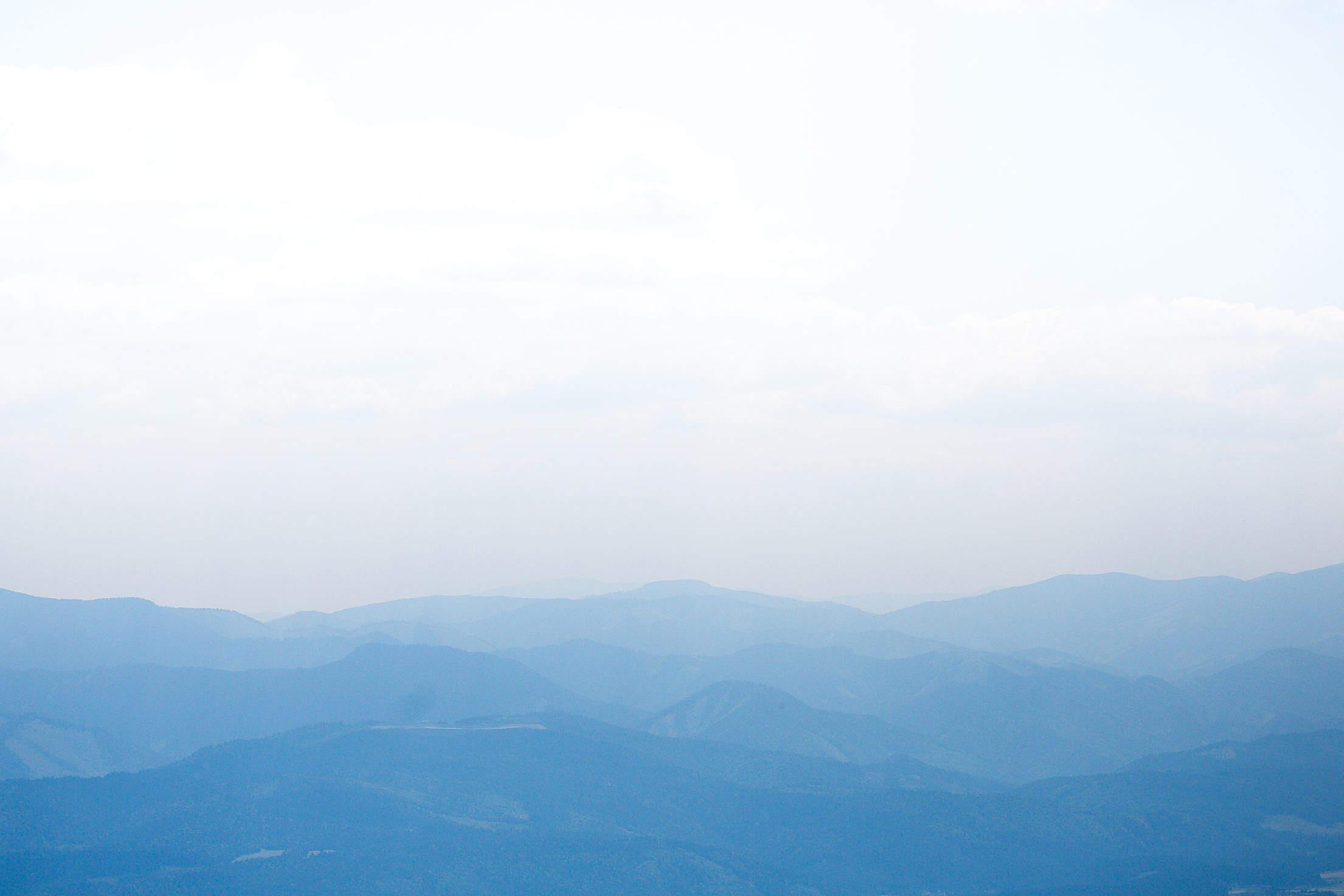 Blue Mountain Silhouettes Free Stock Photo