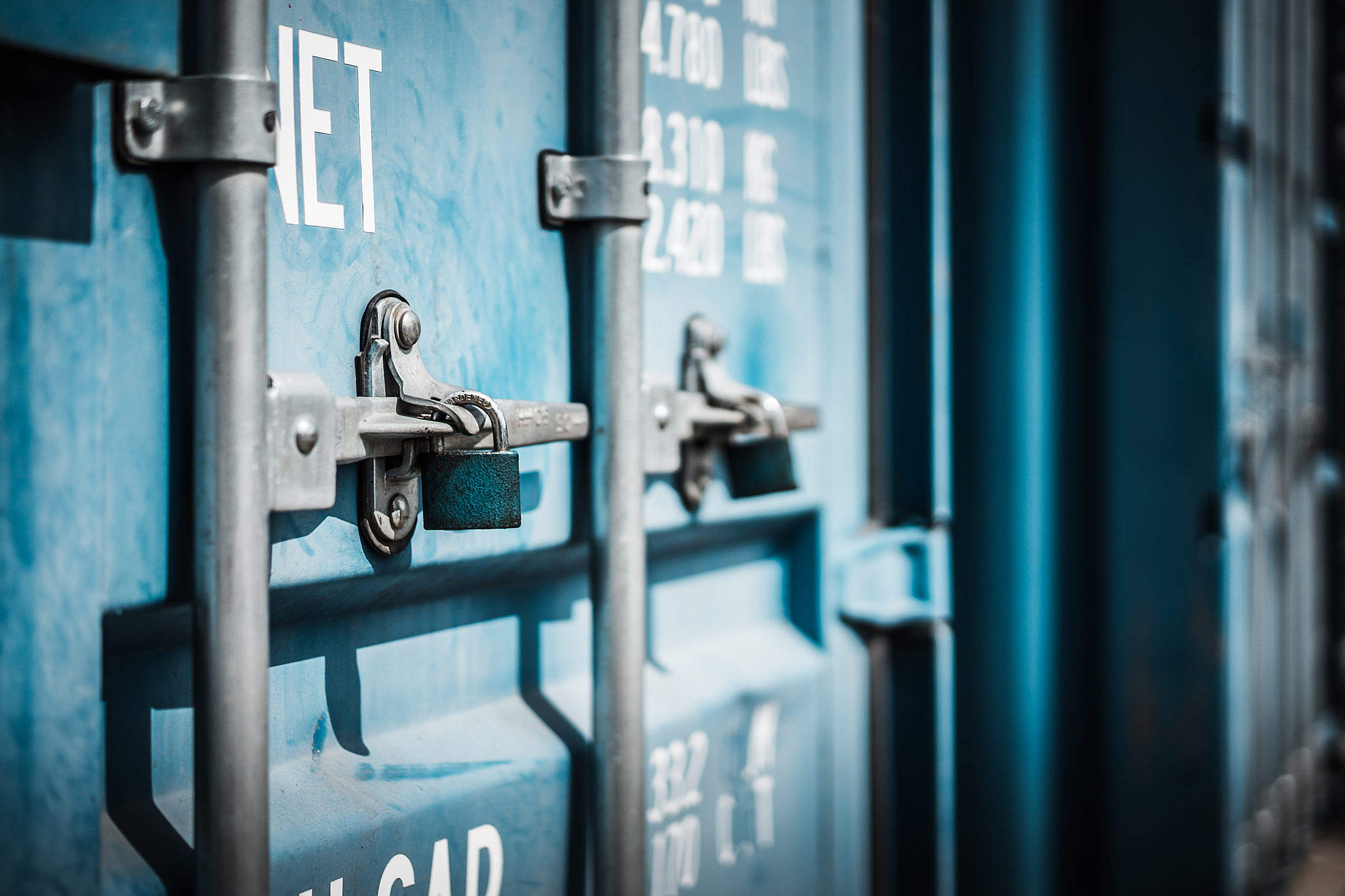 Download Blue Shipping Container Doors Close Up Free Stock Photo