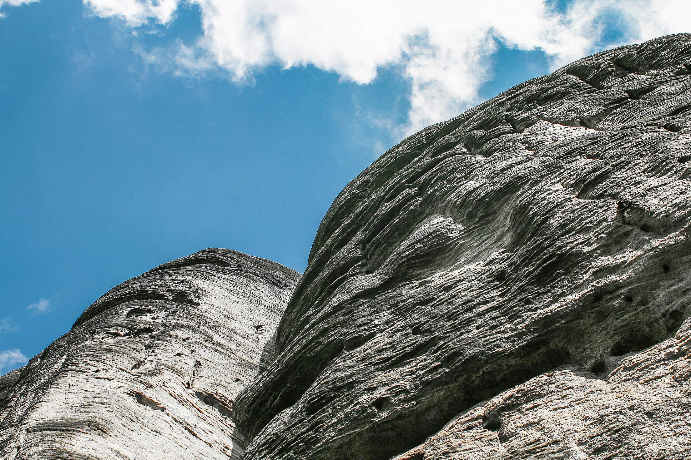 Blue Sky, White Rocks Free Stock Photo
