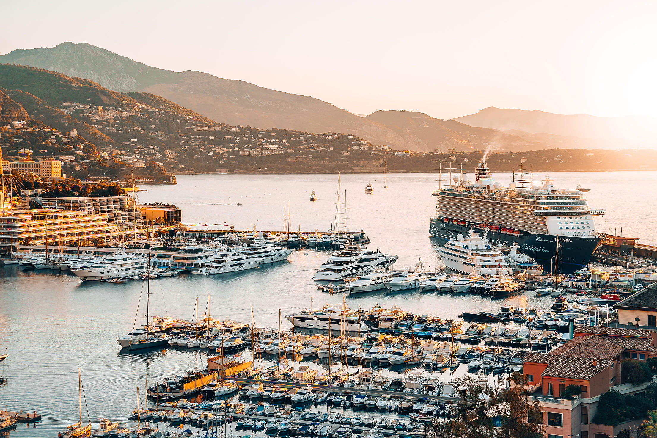 Boats and Ships in Monaco Harbor Free Stock Photo