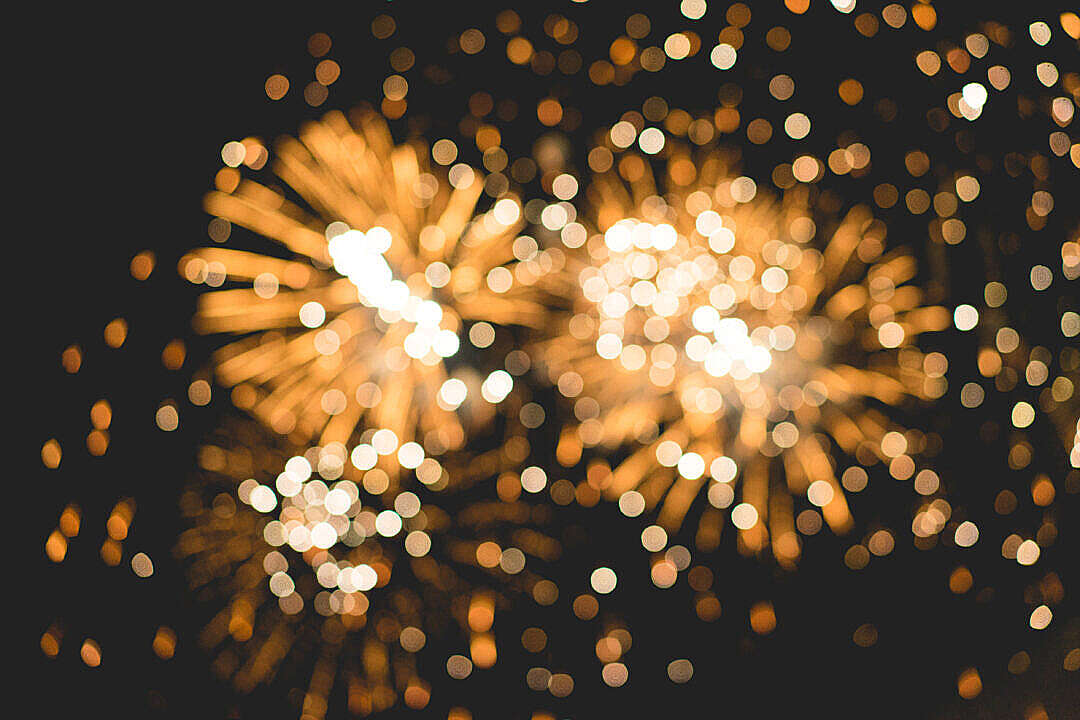 Download Bokeh Classy Golden Fireworks Lights Background FREE Stock Photo