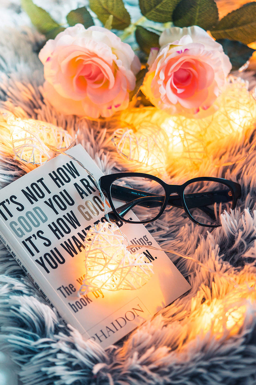 Download Book and Glasses Reading Mood FREE Stock Photo