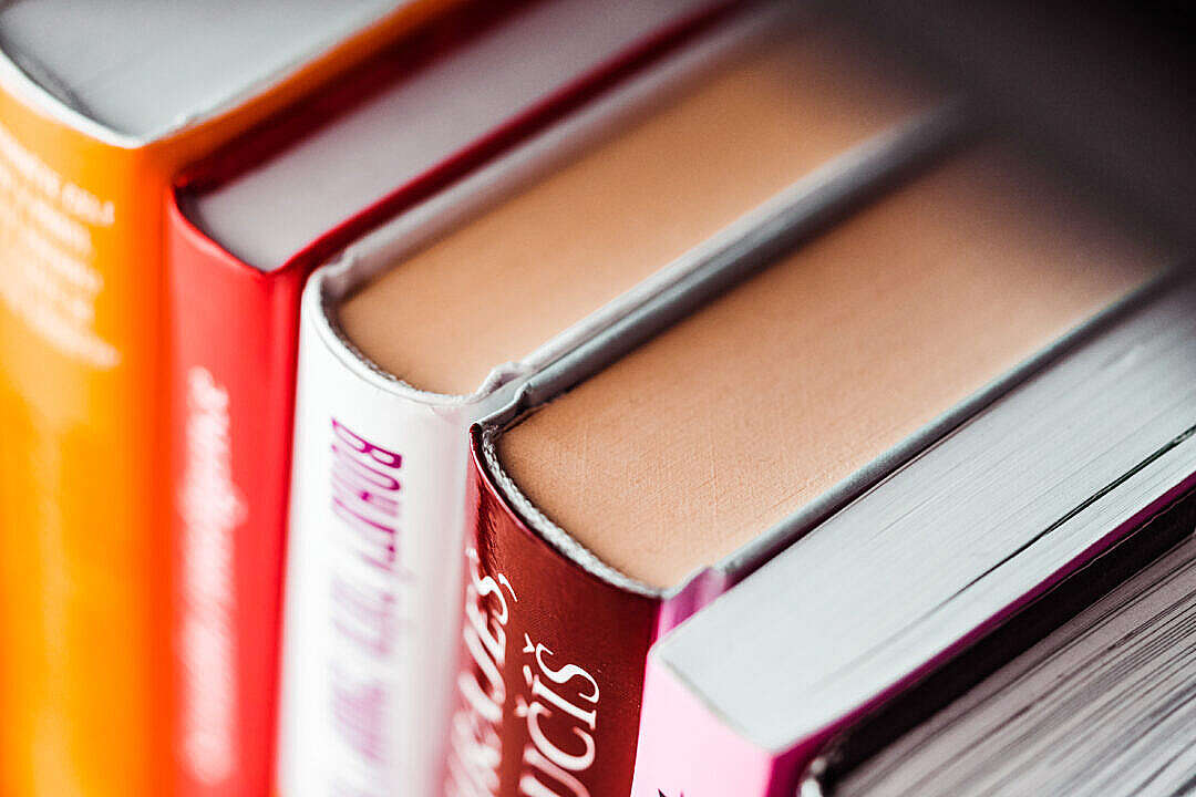 Download Books in Shelf Close Up FREE Stock Photo