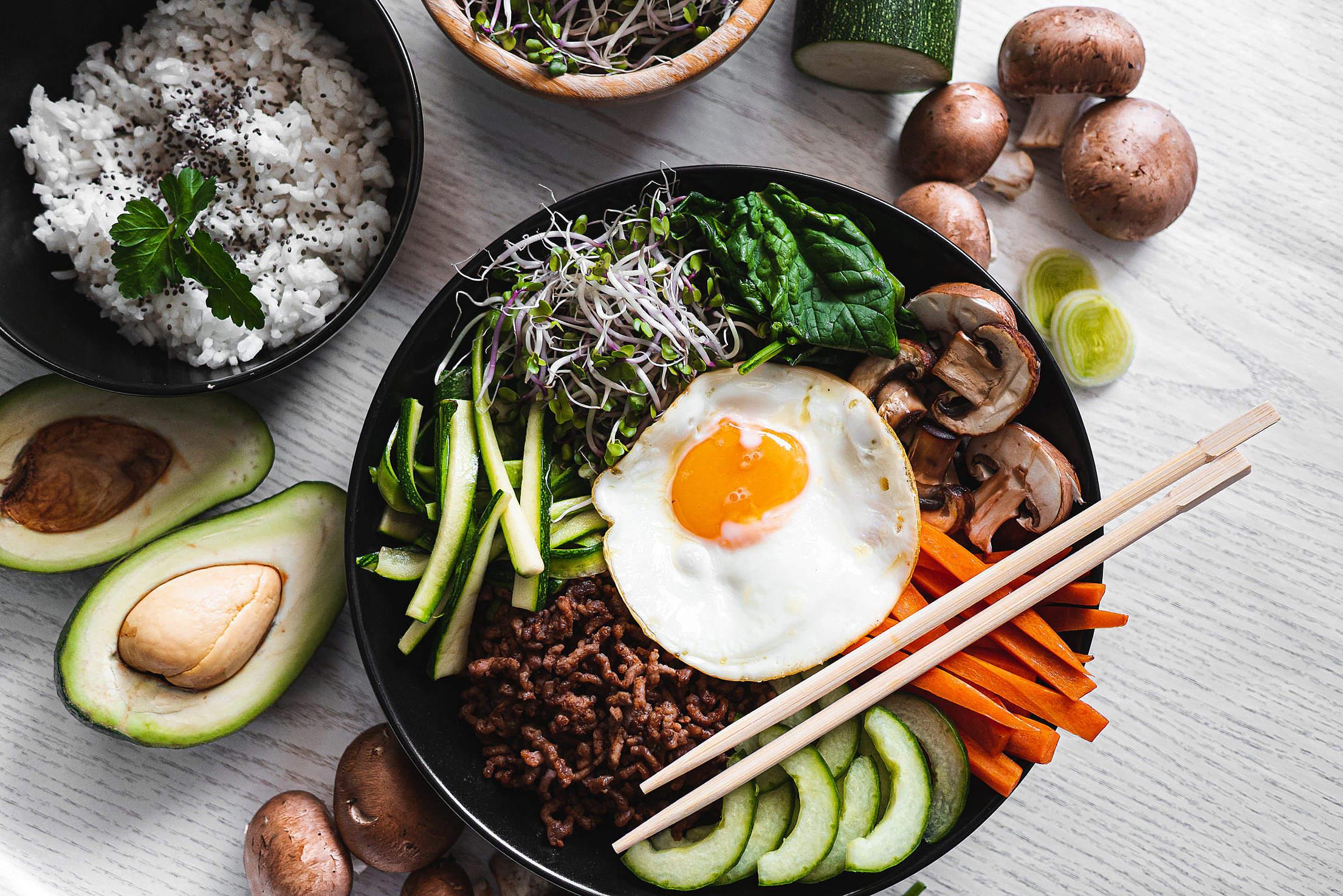 Bowl of Bibimbap Free Stock Photo